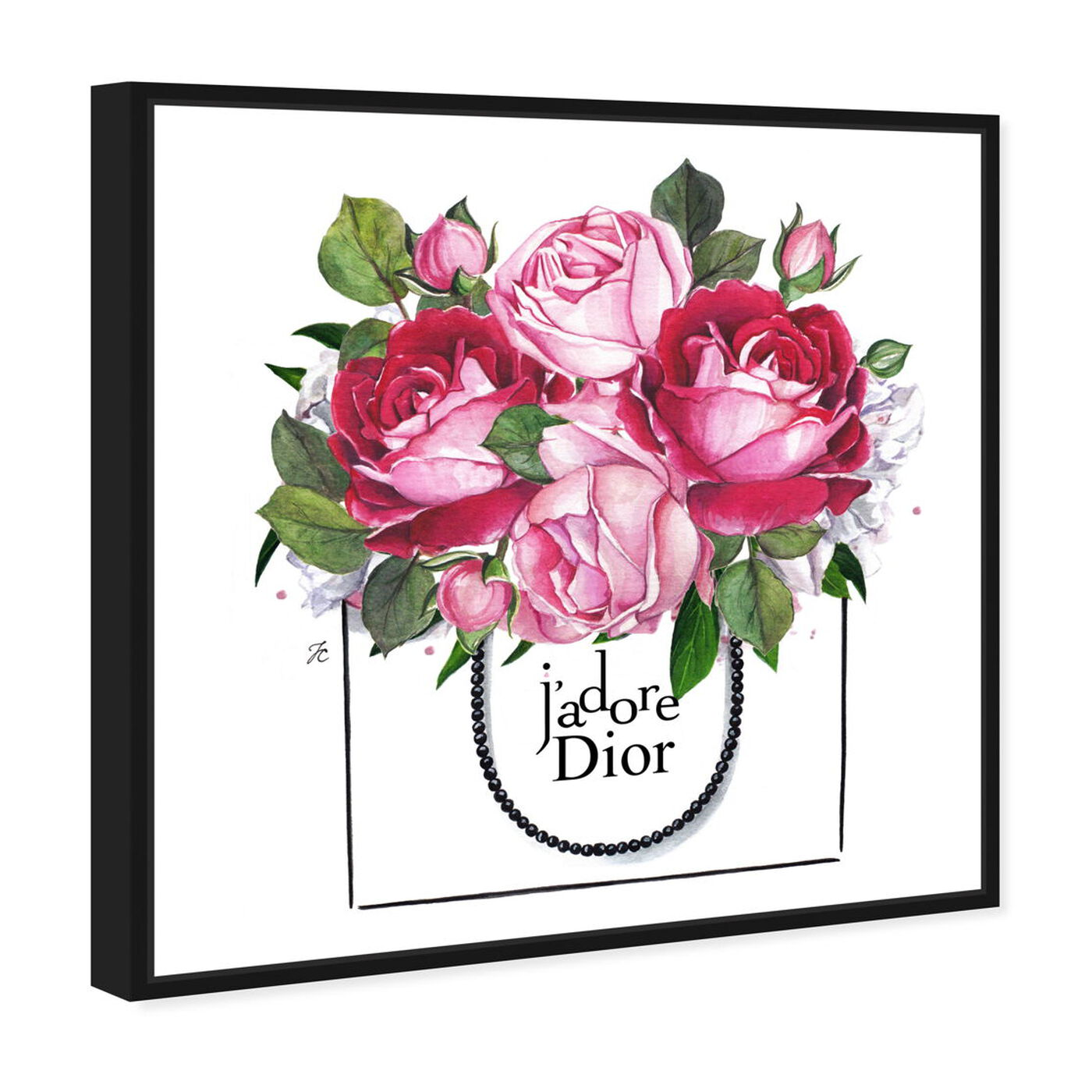 Angled view of Doll Memories - Peonies II featuring floral and botanical and florals art.