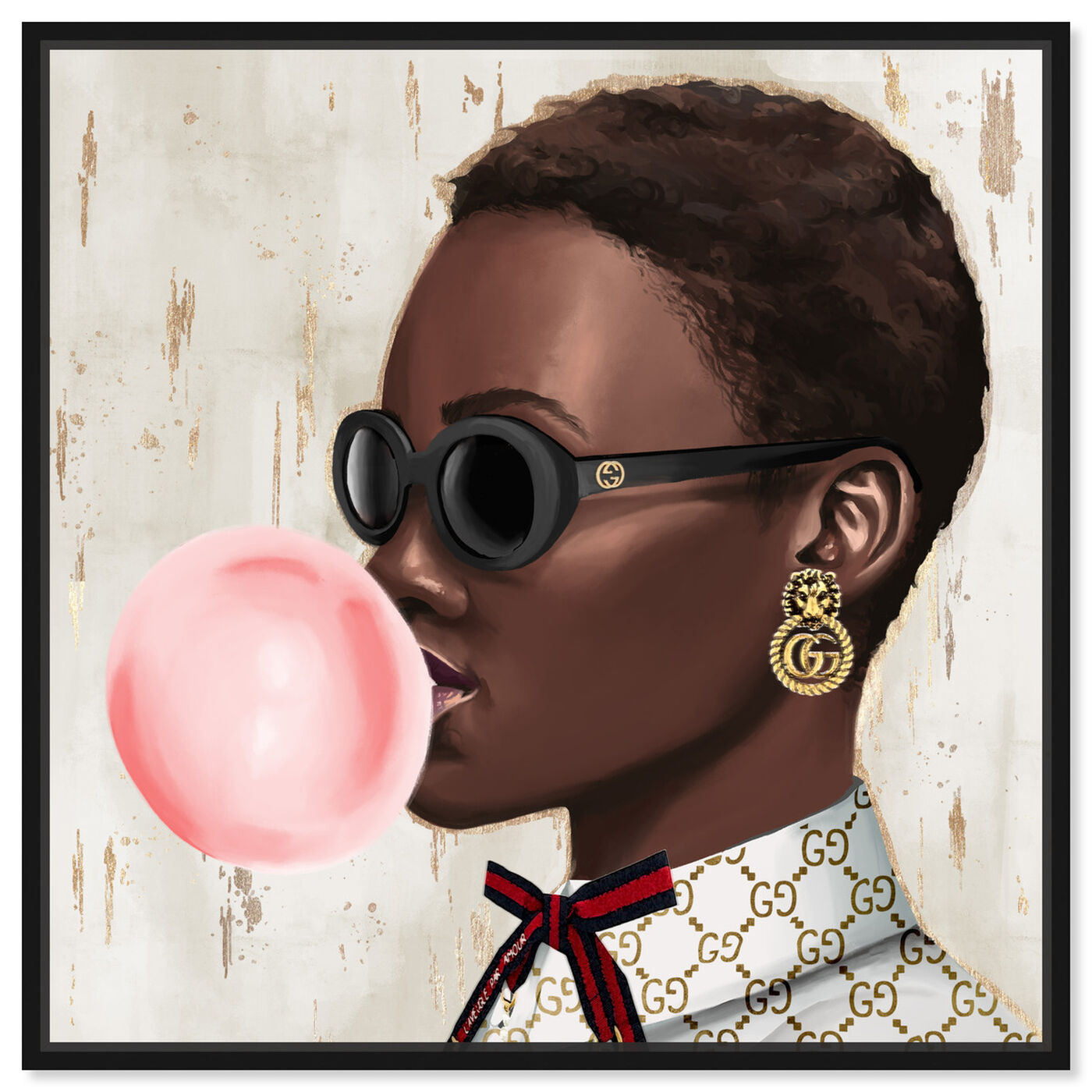 Front view of Bubble Gum Babe featuring fashion and glam and accessories art.