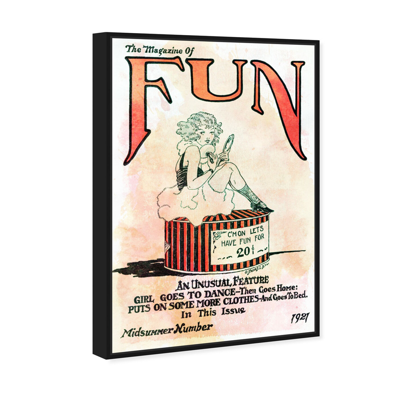 Angled view of Let's Have Fun featuring advertising and comics art.