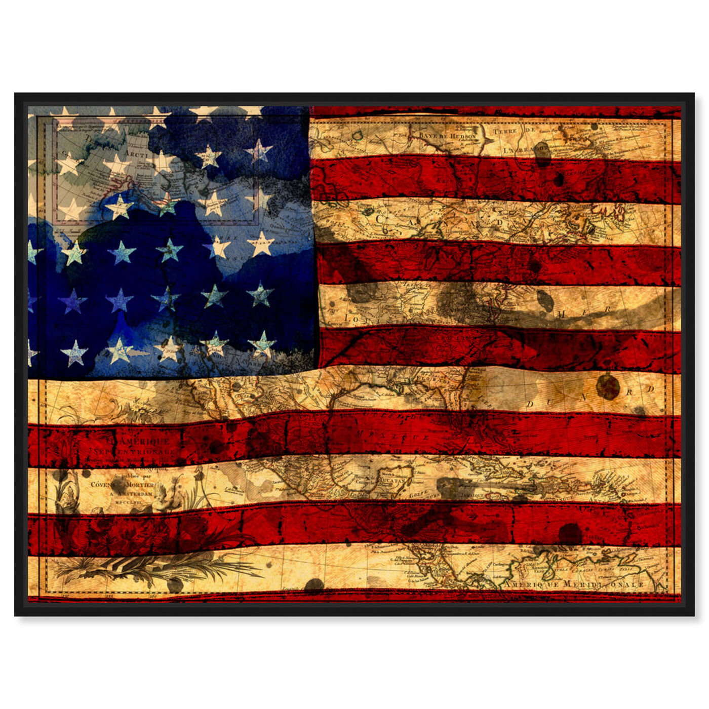 Front view of The Flag featuring maps and flags and american countries flags art.