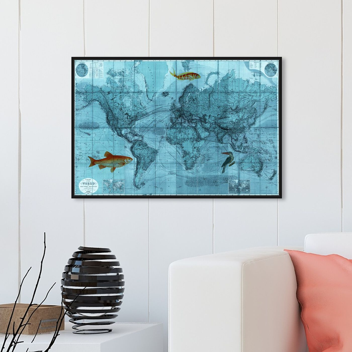 Hanging view of World Mercators Map 1863 featuring maps and flags and world maps art.