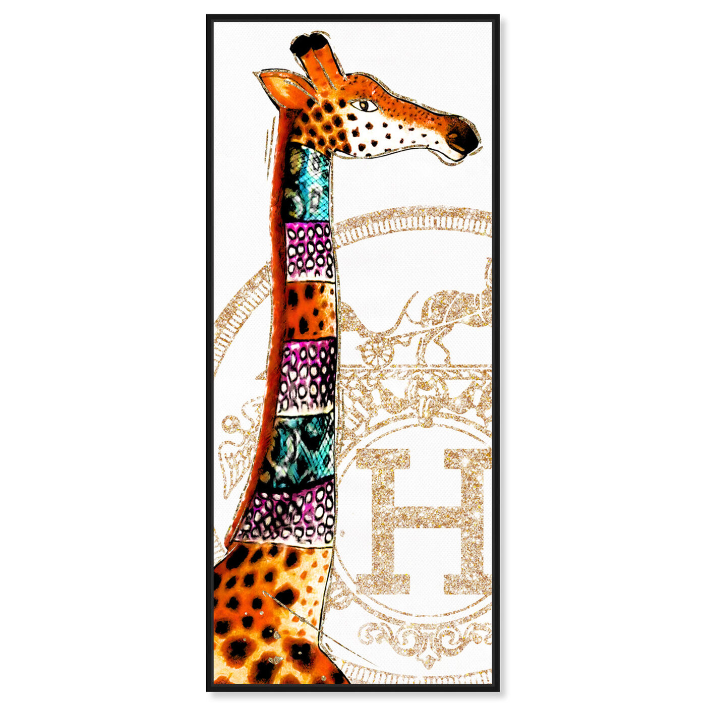 Front view of Giraffe Stand featuring fashion and glam and lifestyle art.