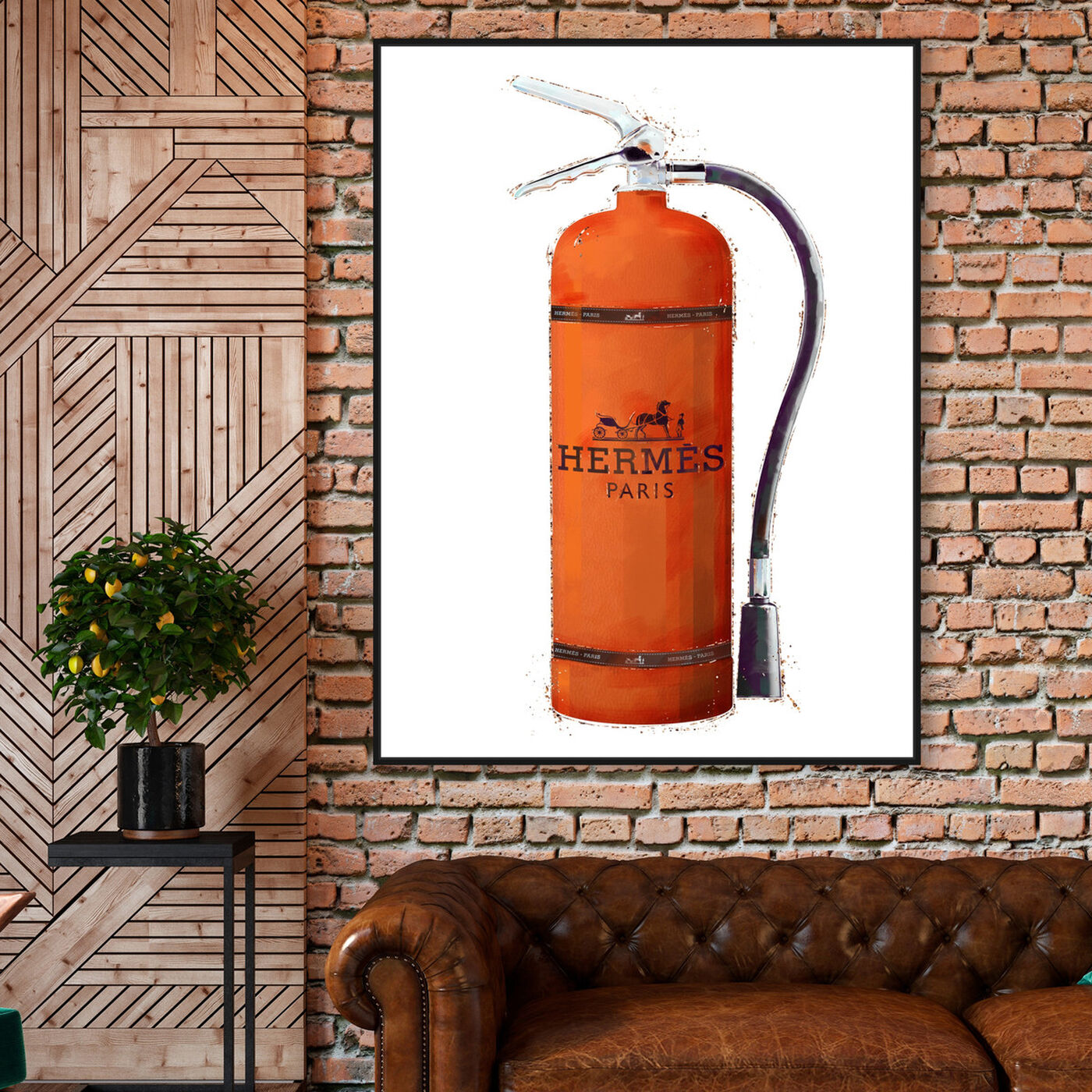 Hanging view of Orange Extinguisher featuring fashion and glam and lifestyle art.