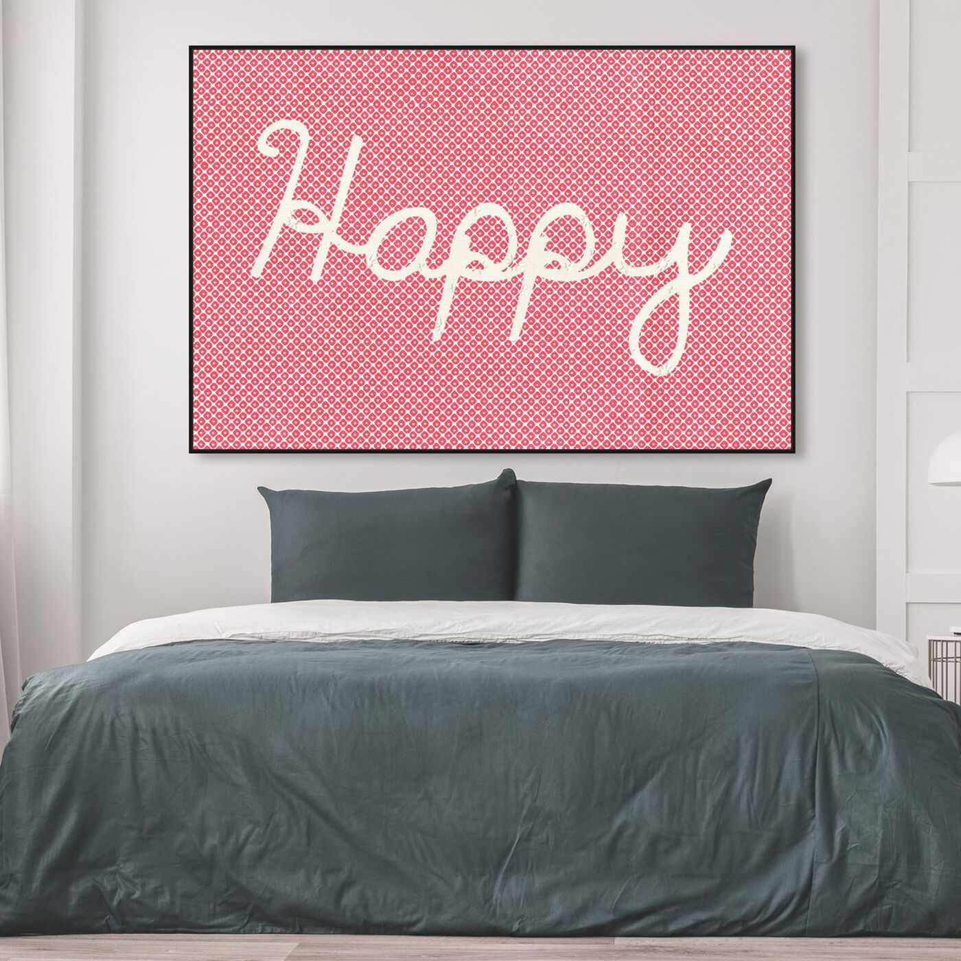Hanging view of Happy featuring typography and quotes and inspirational quotes and sayings art.