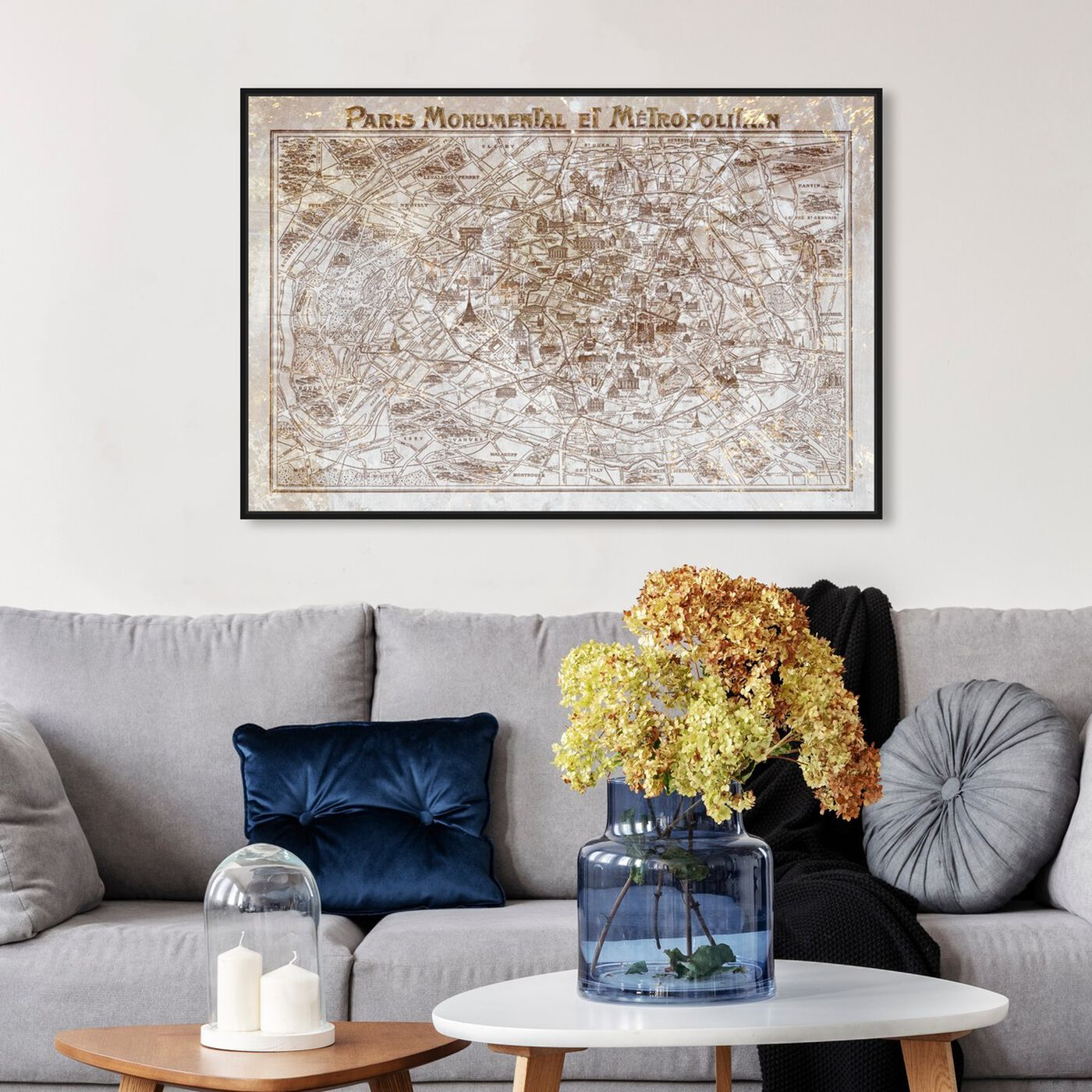 Hanging view of Dusty Gold Paris Map featuring maps and flags and european cities flags art.