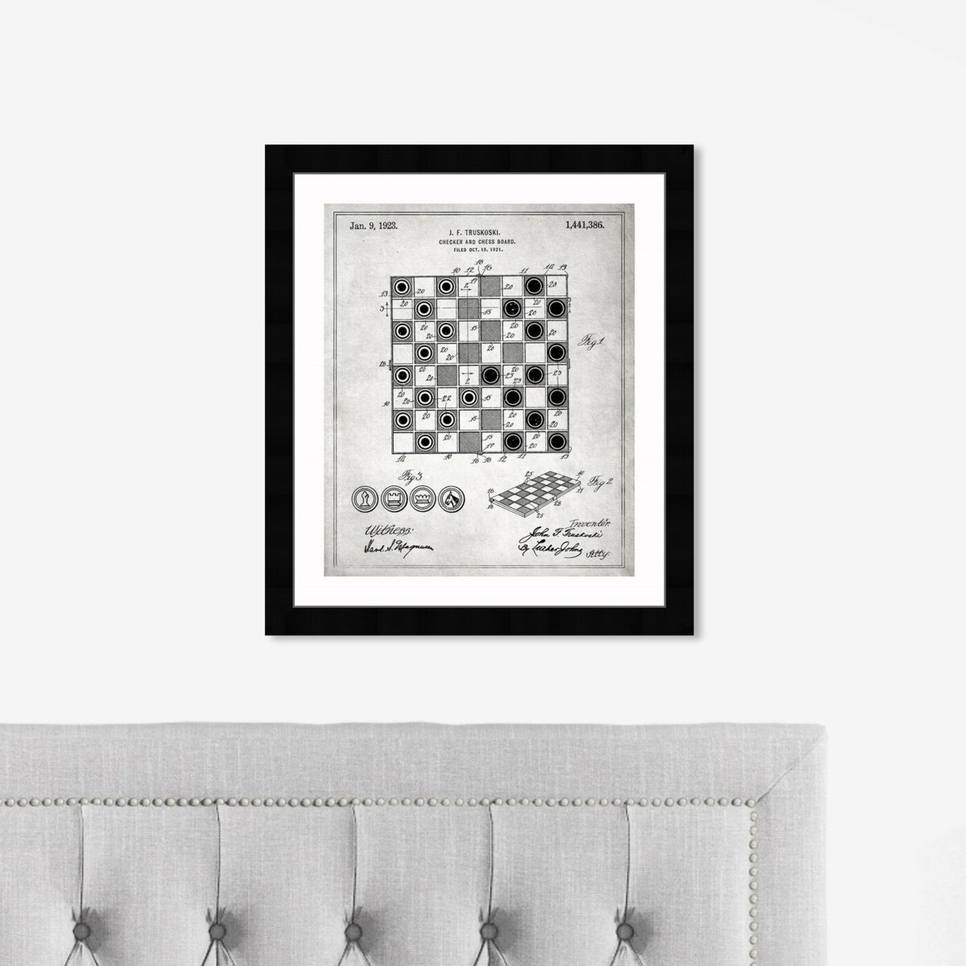 Hanging view of Checker And Chess Board 1923 featuring entertainment and hobbies and board games art.