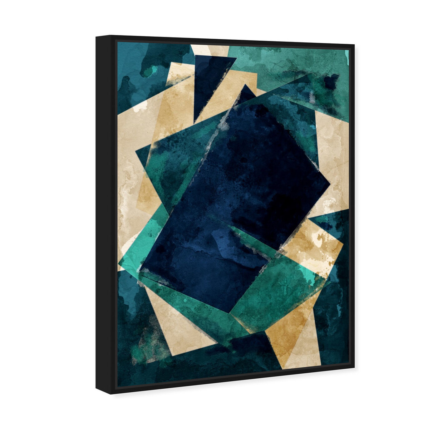 Angled view of Abstracta Dos featuring abstract and geometric art.