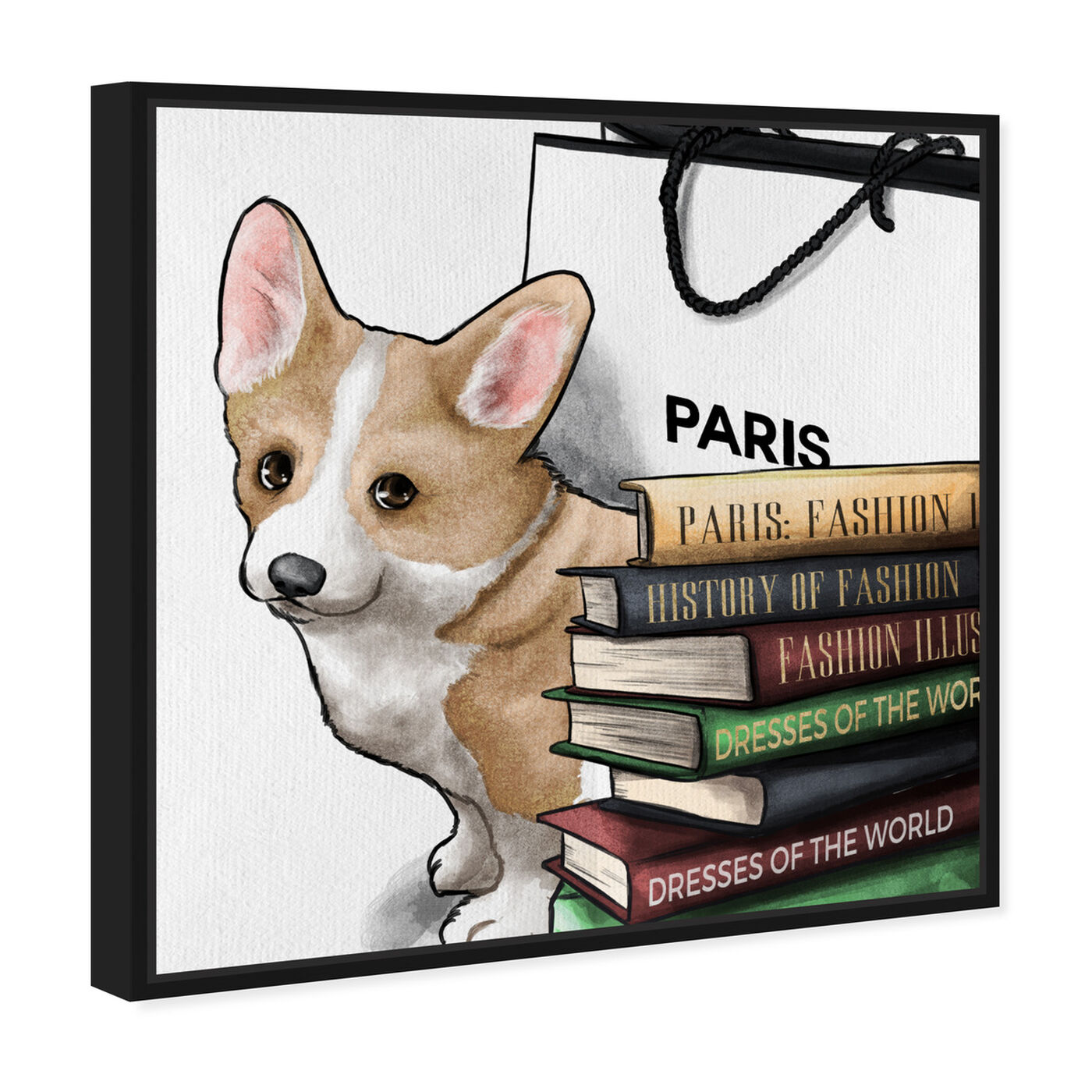 Angled view of Fashion Books Corgi featuring animals and dogs and puppies art.