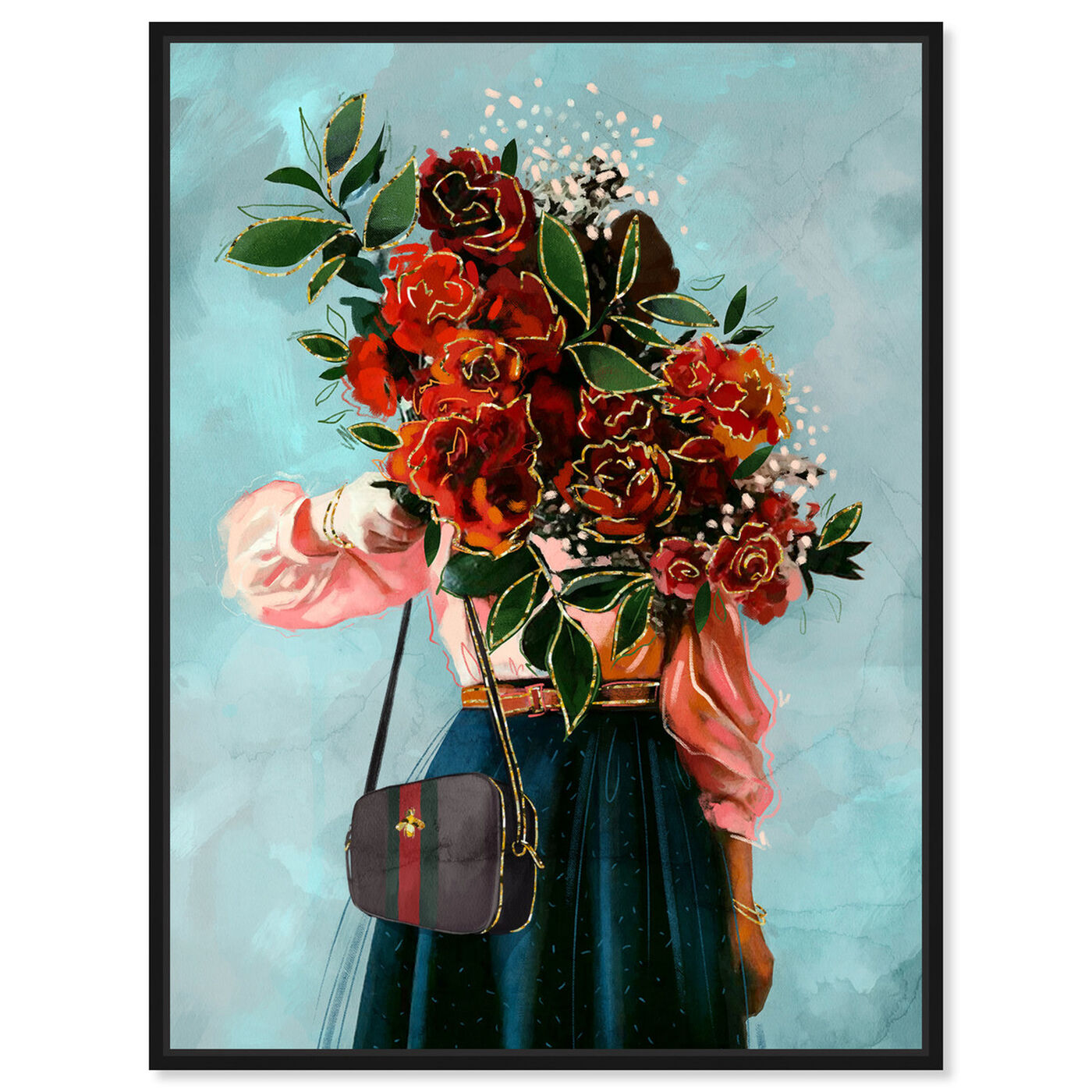 Front view of Roses in View featuring floral and botanical and florals art.