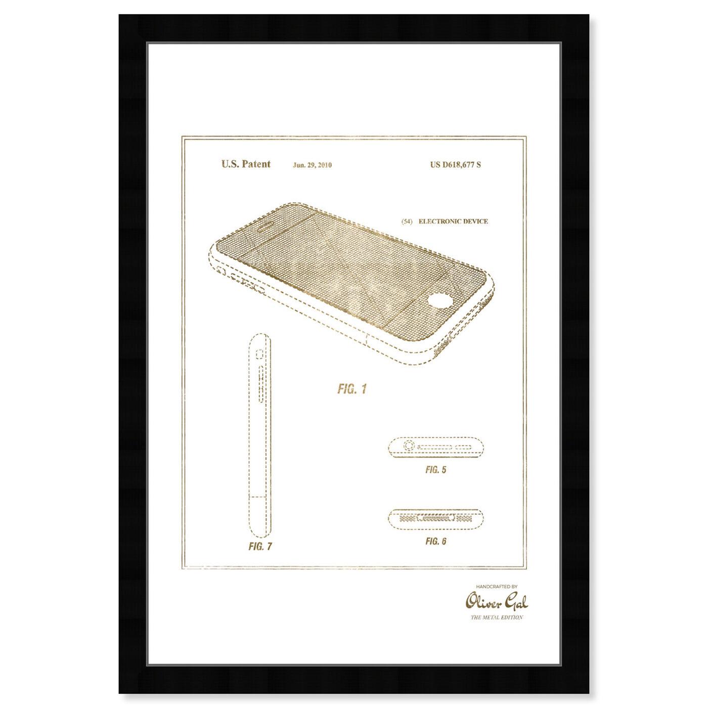 Front view of Apple Iphone 2010 - Noir Gold art.
