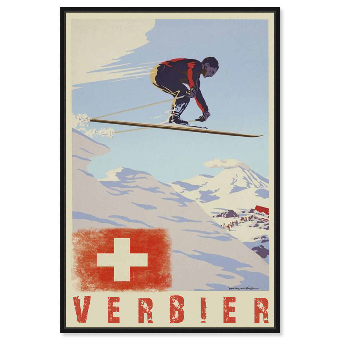 Front view of Verbier featuring advertising and posters art.