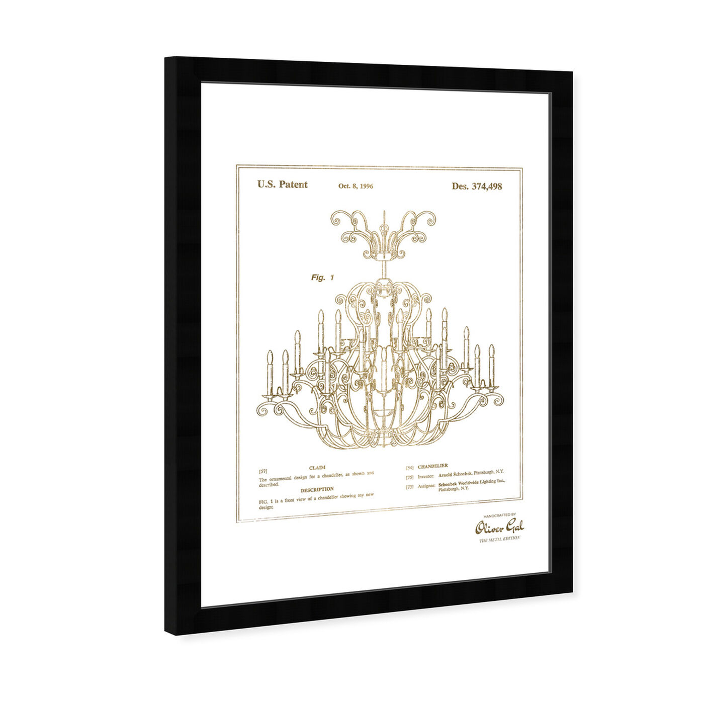 Angled view of Chandelier 1996 Gold featuring classic and figurative and french décor art.