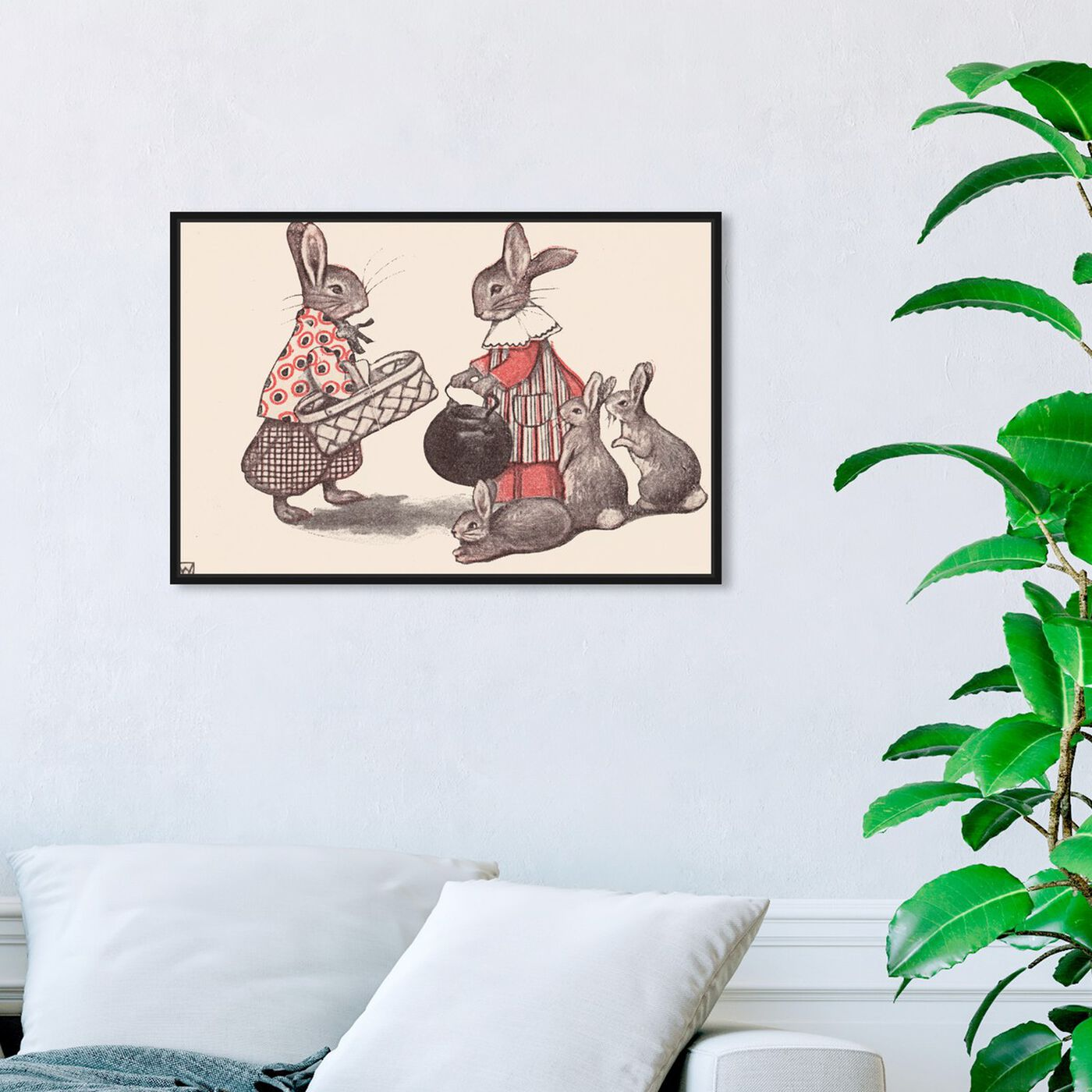 Hanging view of Rabbit Family featuring animals and farm animals art.