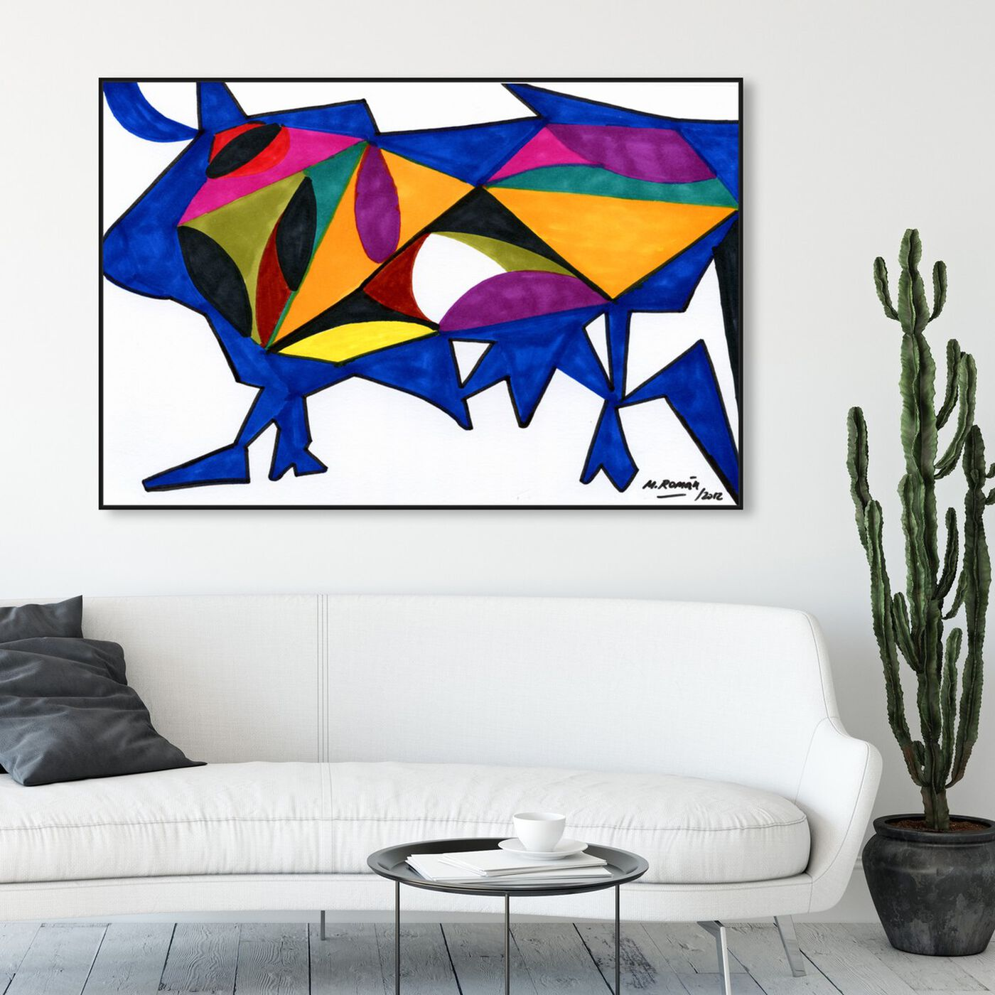 Hanging view of Bull Sunrise featuring abstract and shapes art.