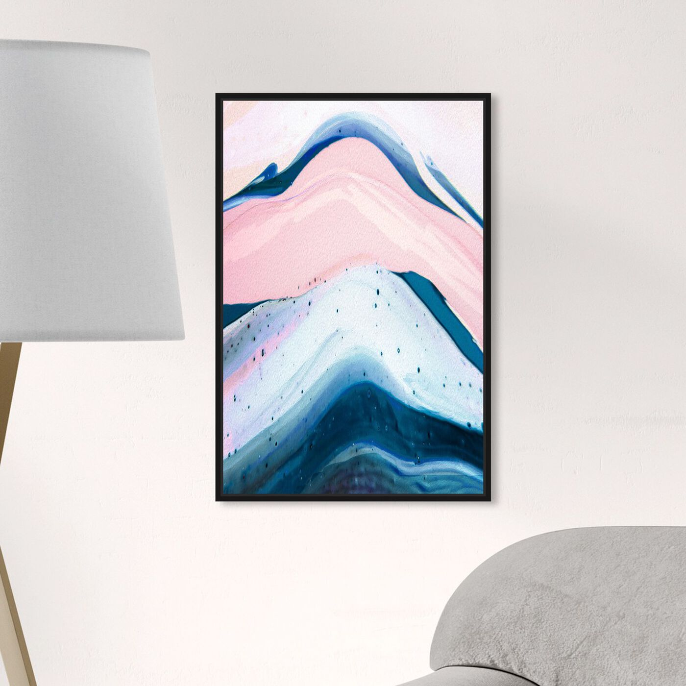 Hanging view of Macaron Agate featuring abstract and paint art.