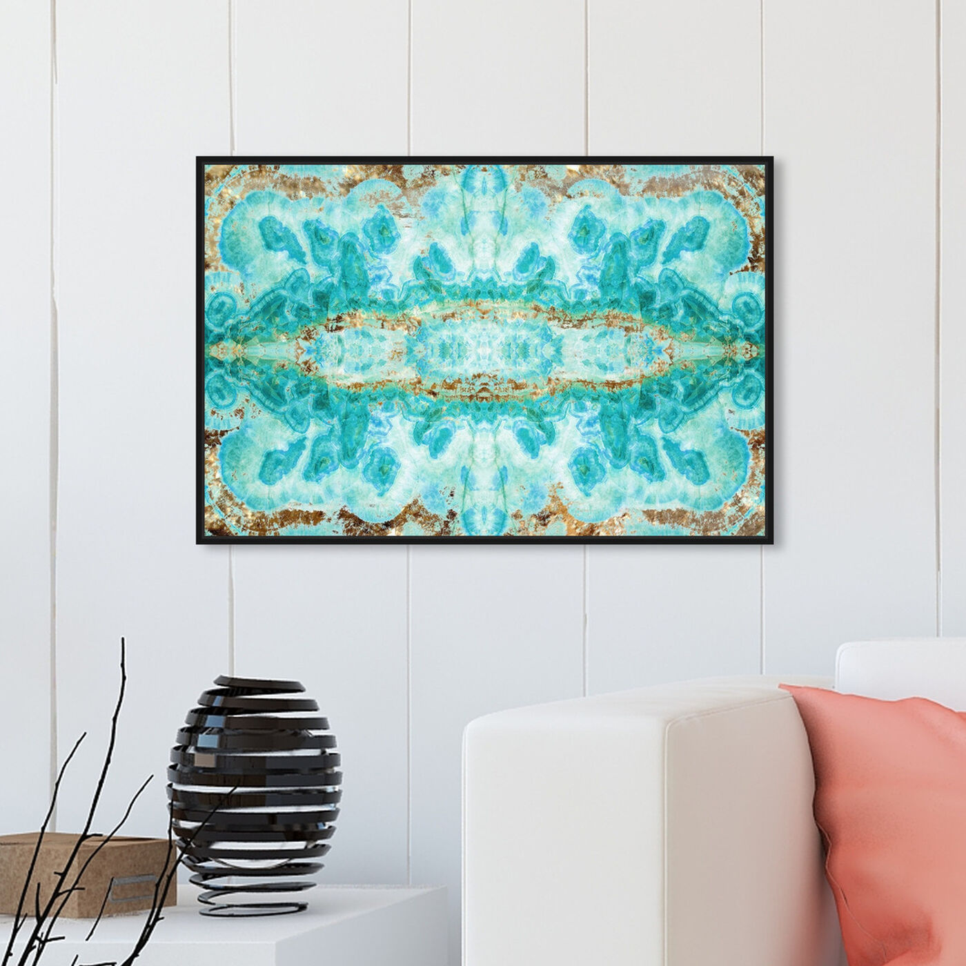 Hanging view of Sumatra featuring abstract and crystals art.