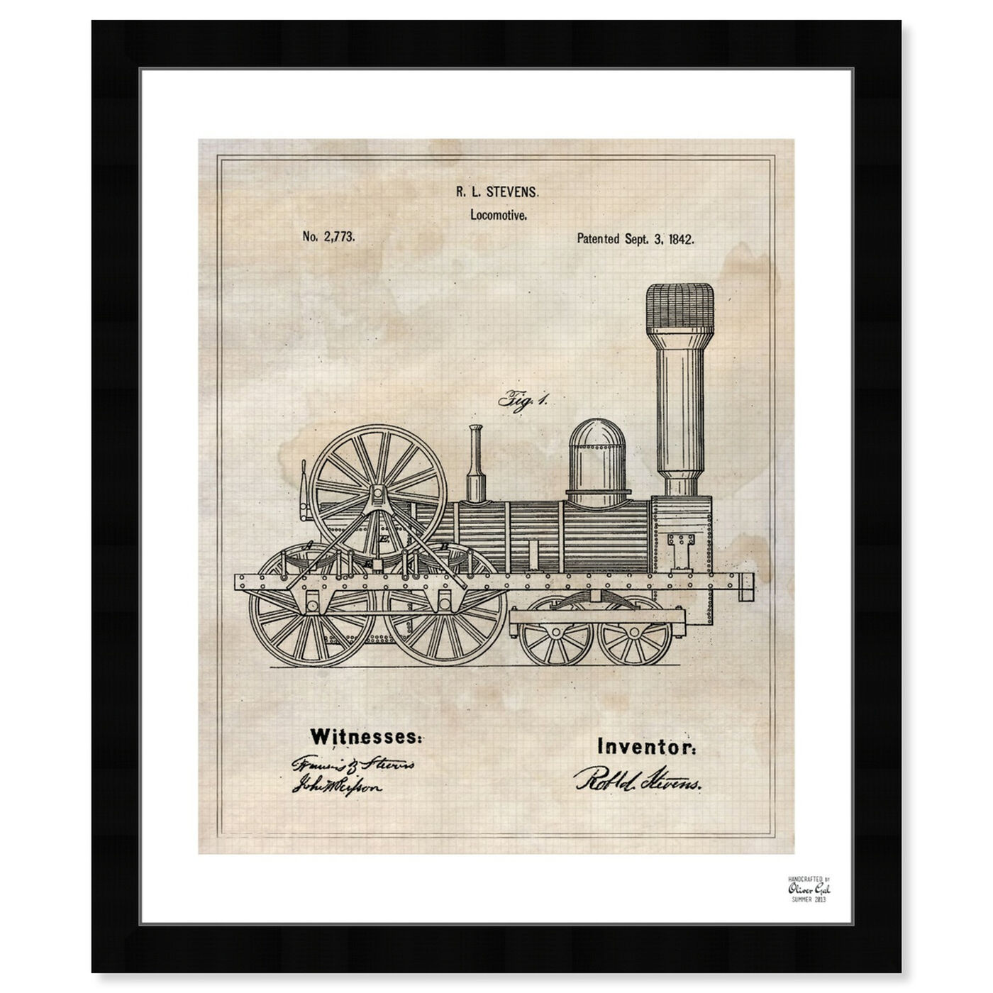 Front view of Locomotive 1842 featuring transportation and trains art.