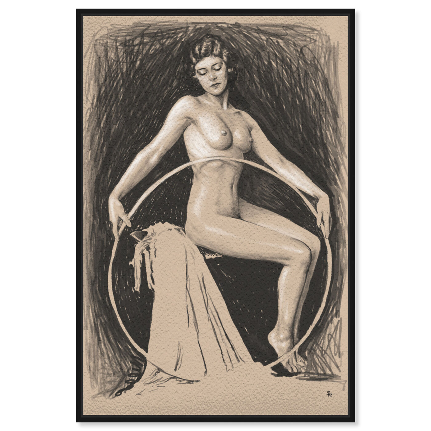 Front view of Nude Woman with Hoop featuring classic and figurative and nudes art.