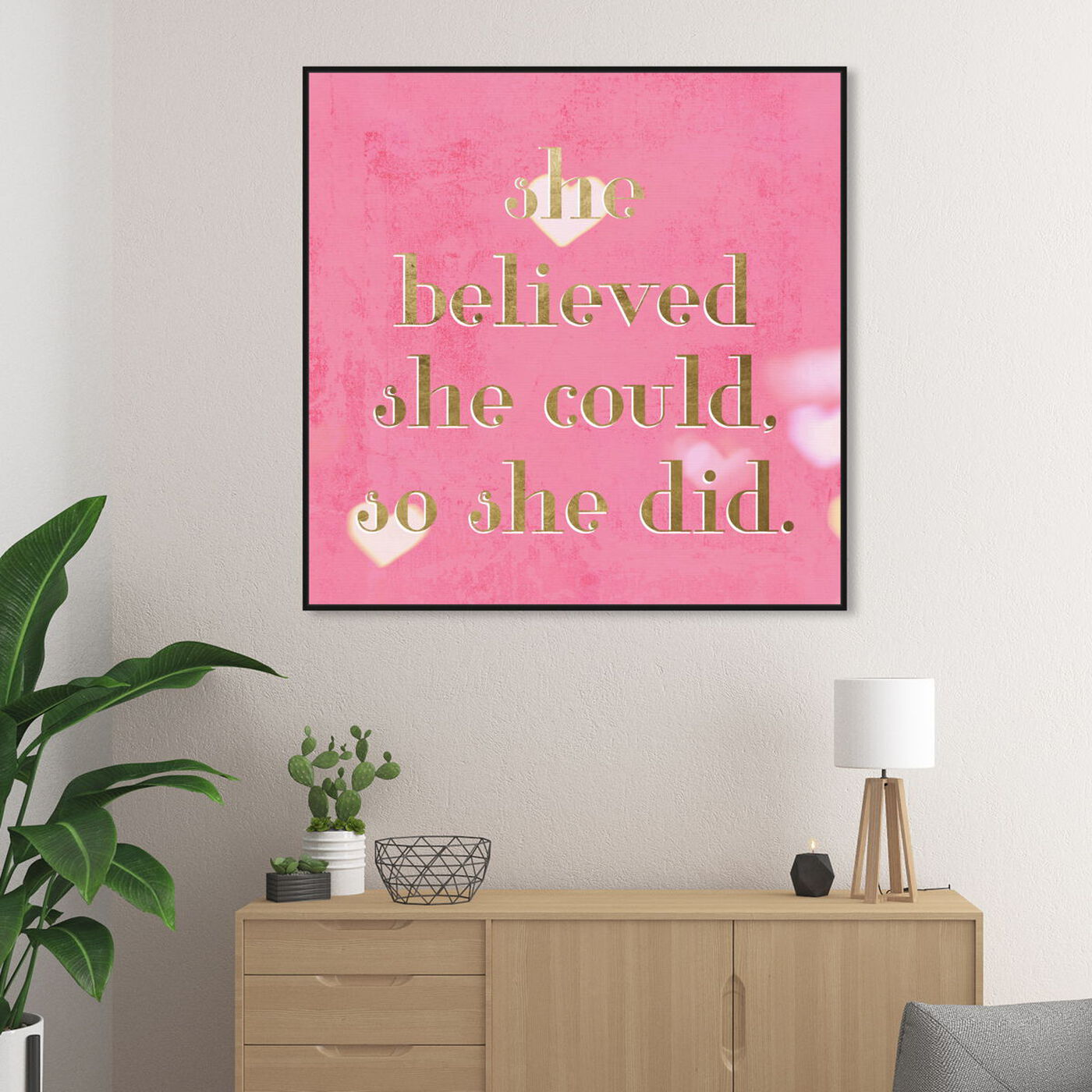 Hanging view of She Believed She Could featuring typography and quotes and empowered women quotes and sayings art.