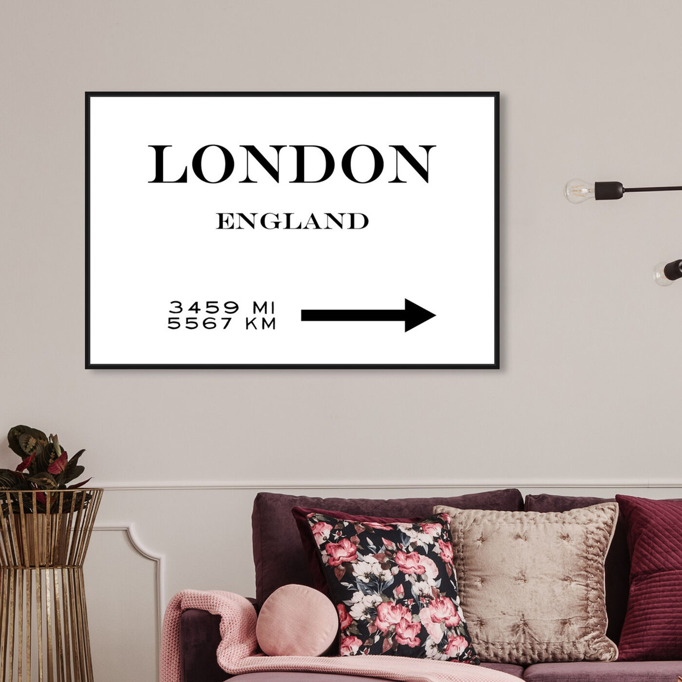 Hanging view of London Road featuring fashion and glam and road signs art.