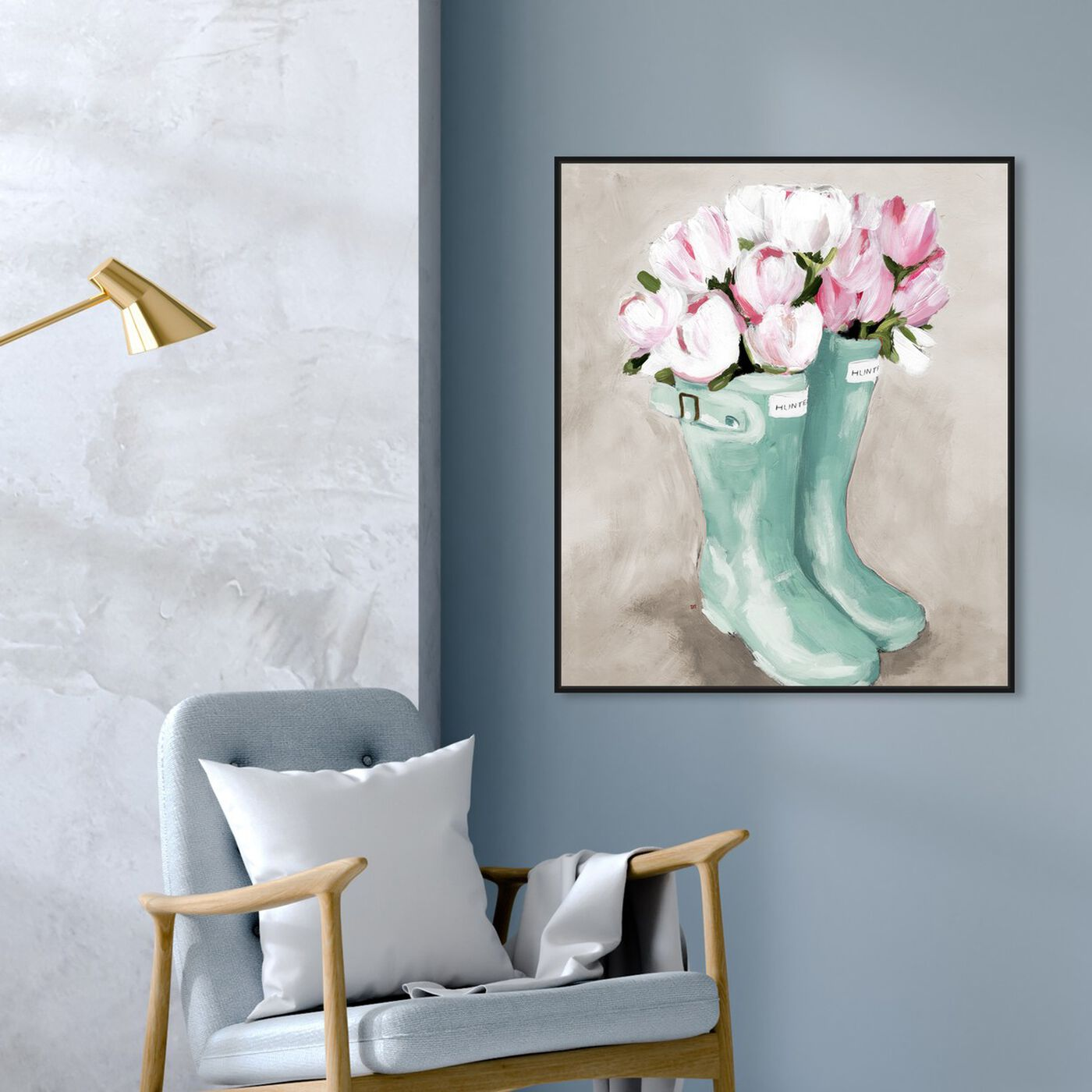 Hanging view of Tulips In Spring Boots featuring floral and botanical and florals art.