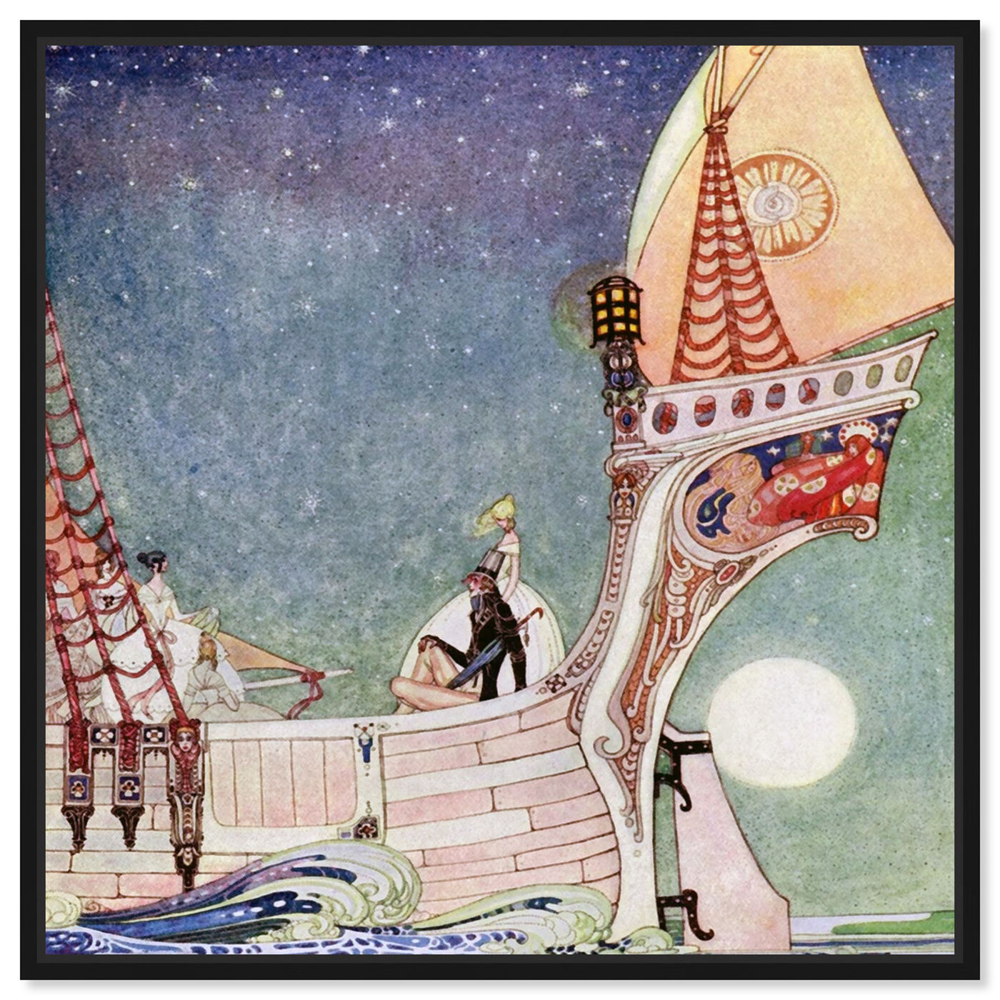 Front view of Magical Boat featuring fantasy and sci-fi and fairy tales art.