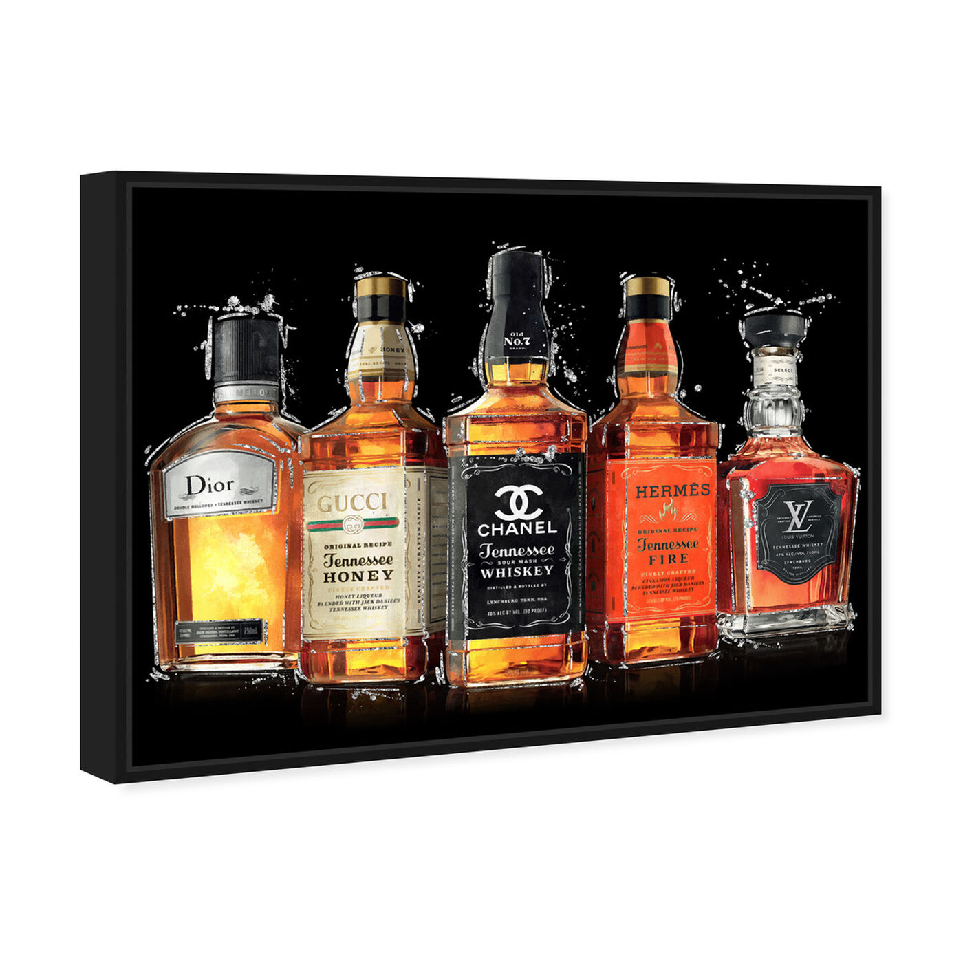 Angled view of Fashion Whiskey Collection featuring drinks and spirits and liquor art.