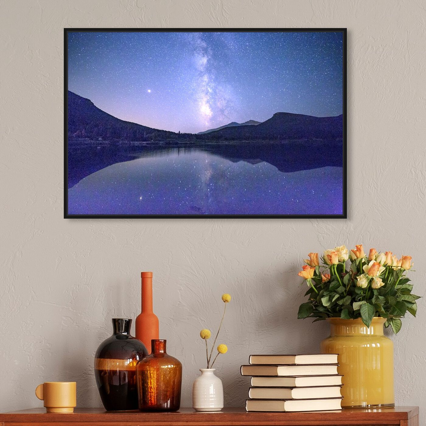 Hanging view of Curro Cardenal - Starry Night featuring nature and landscape and mountains art.