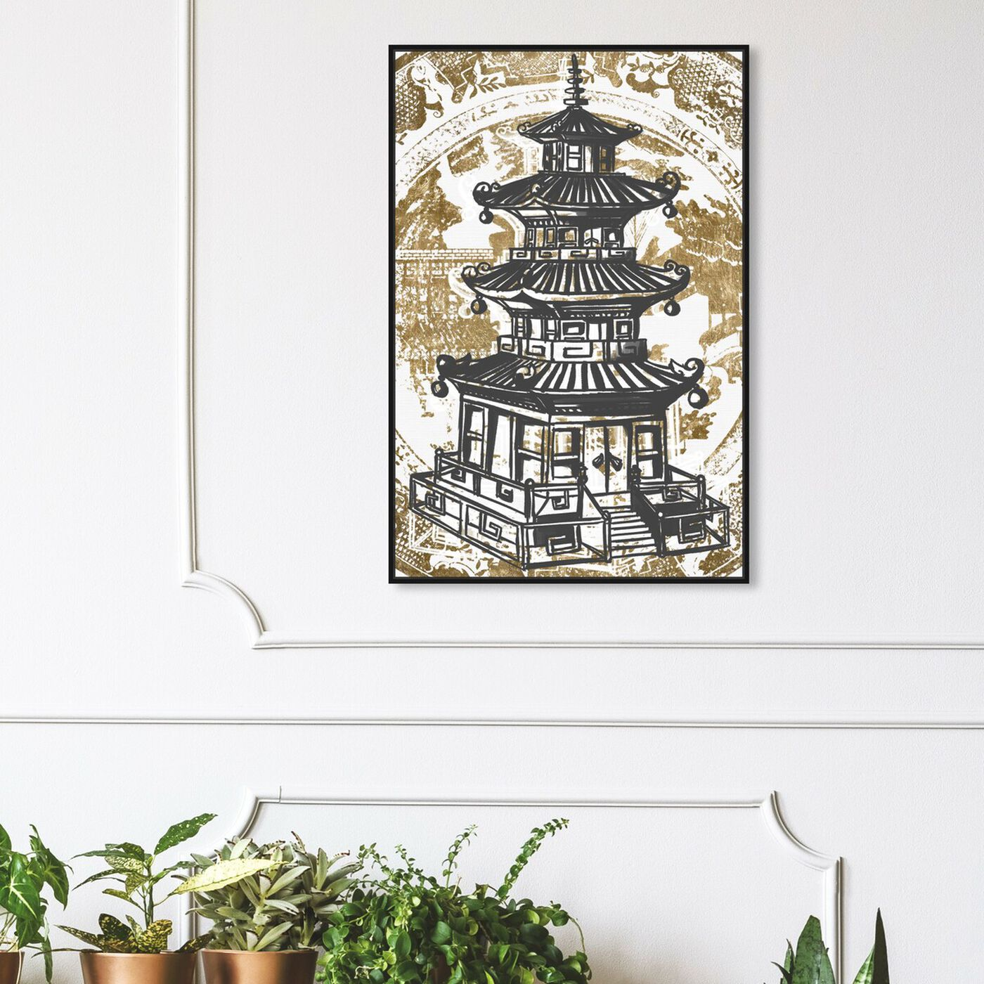 Hanging view of Pagoda Luxe Night featuring world and countries and asian cultures art.