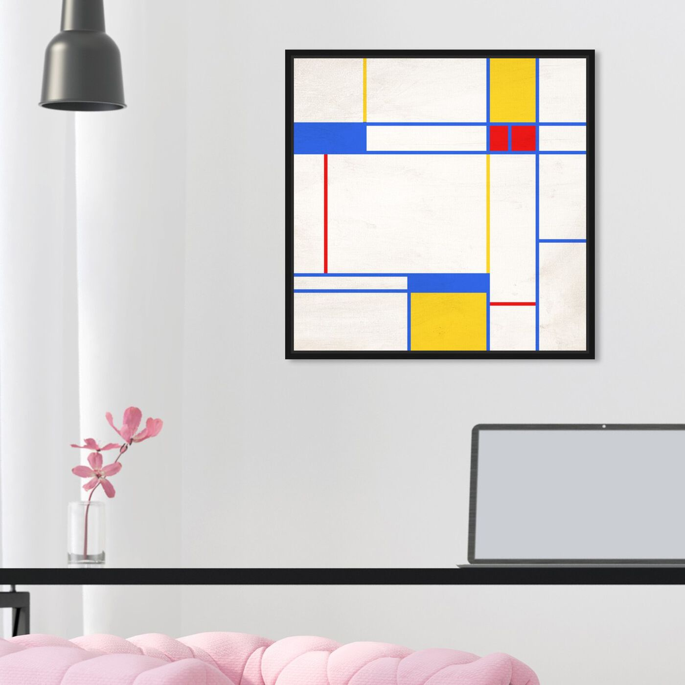 Hanging view of Thought of Nature featuring abstract and geometric art.
