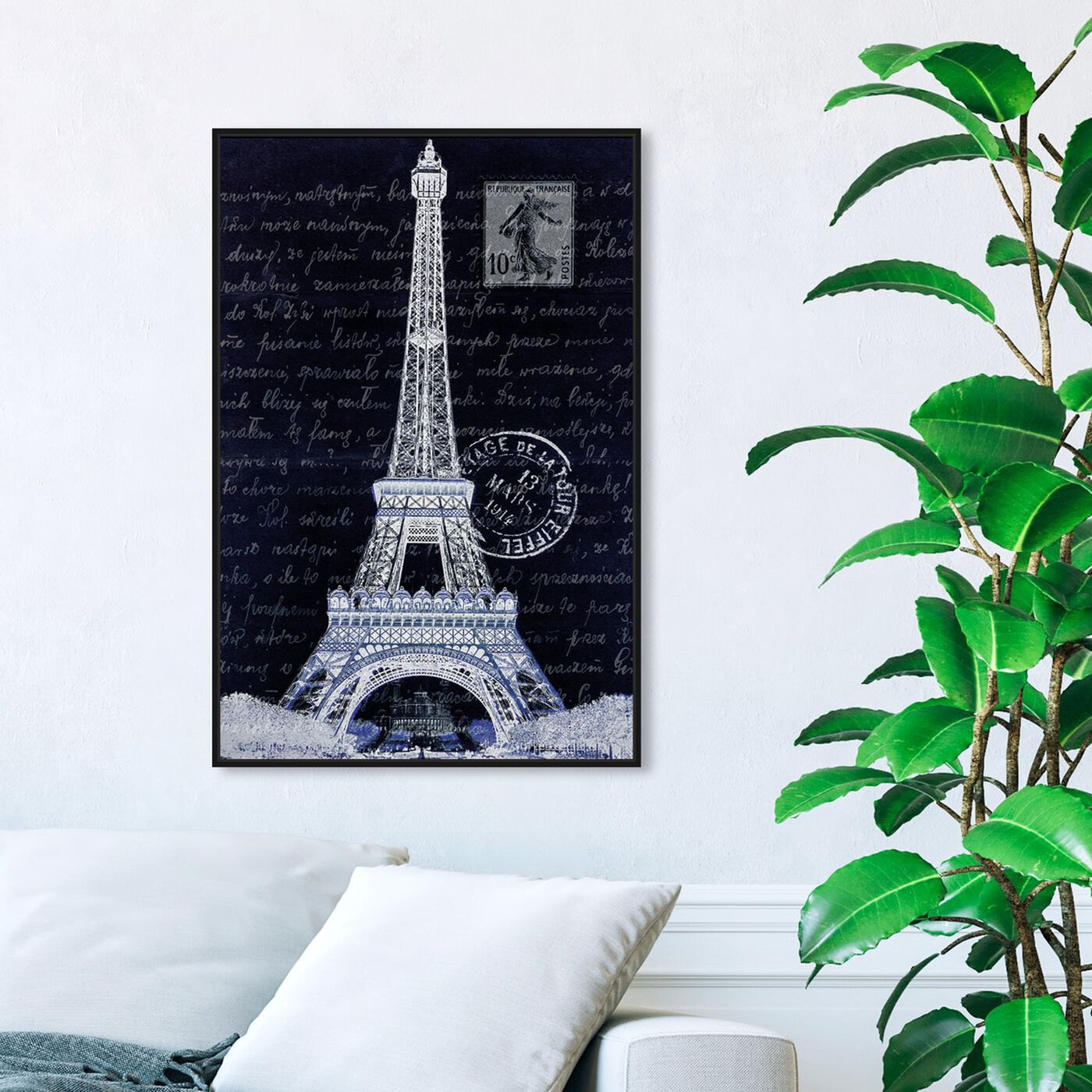 Hanging view of Eiffel Thoughts Night featuring architecture and buildings and european buildings art.