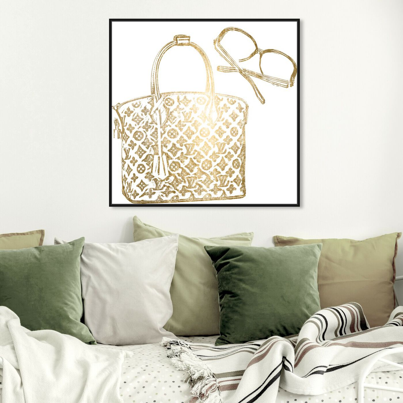 Hanging view of Luxe Musts Gold Foil featuring fashion and glam and handbags art.