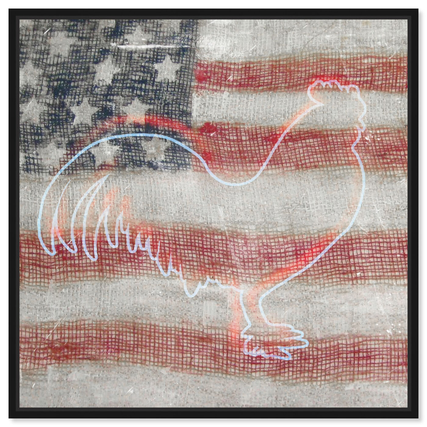 Front view of State Rooster featuring americana and patriotic and us flags art.