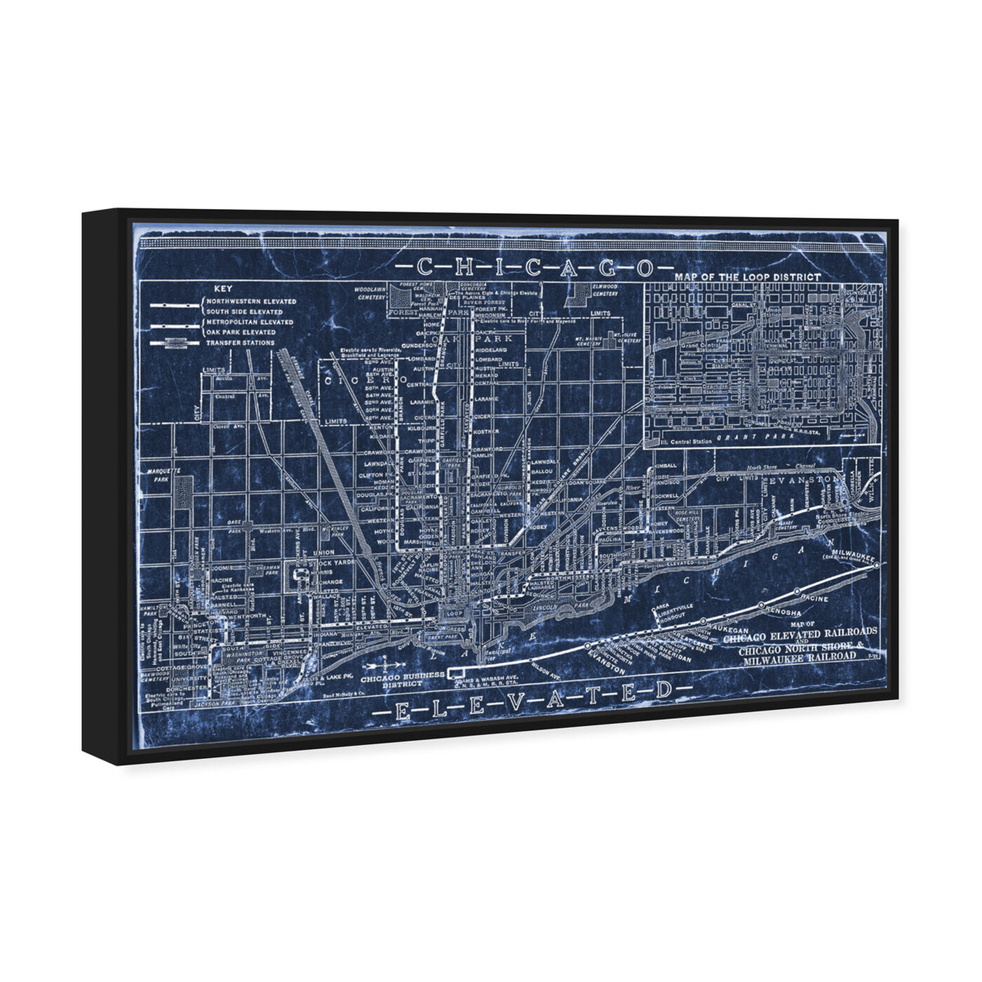 Angled view of Chicago Railroad Blueprint Map featuring maps and flags and us cities maps art.