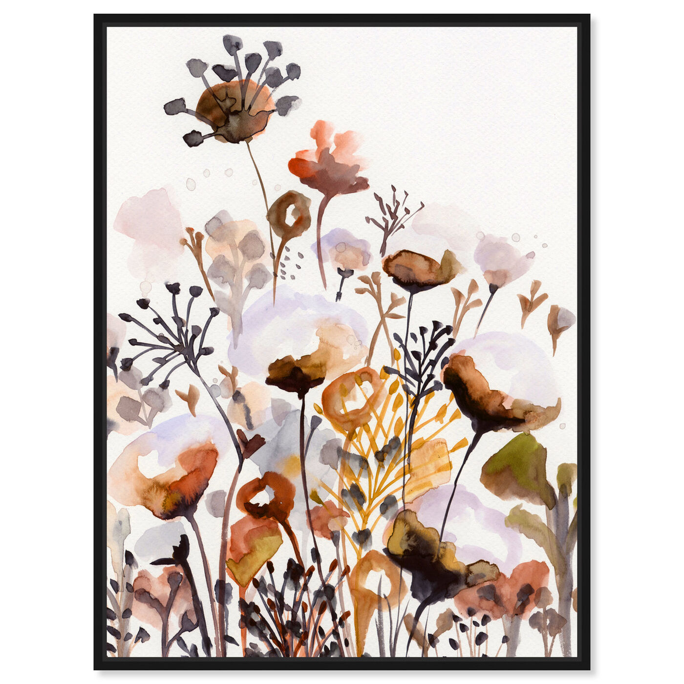 Front view of Deep Forest Earthy Brown featuring floral and botanical and gardens art.