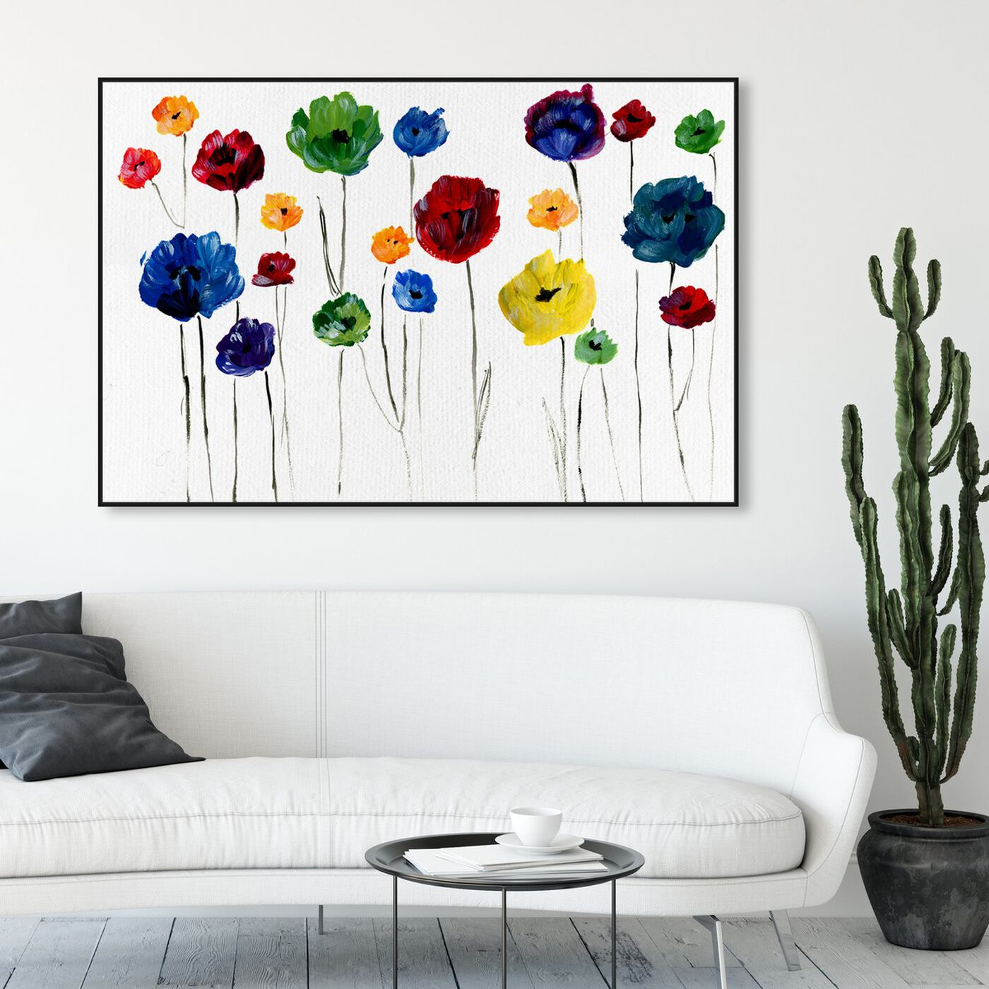 Hanging view of Rainbow Florals II featuring floral and botanical and gardens art.