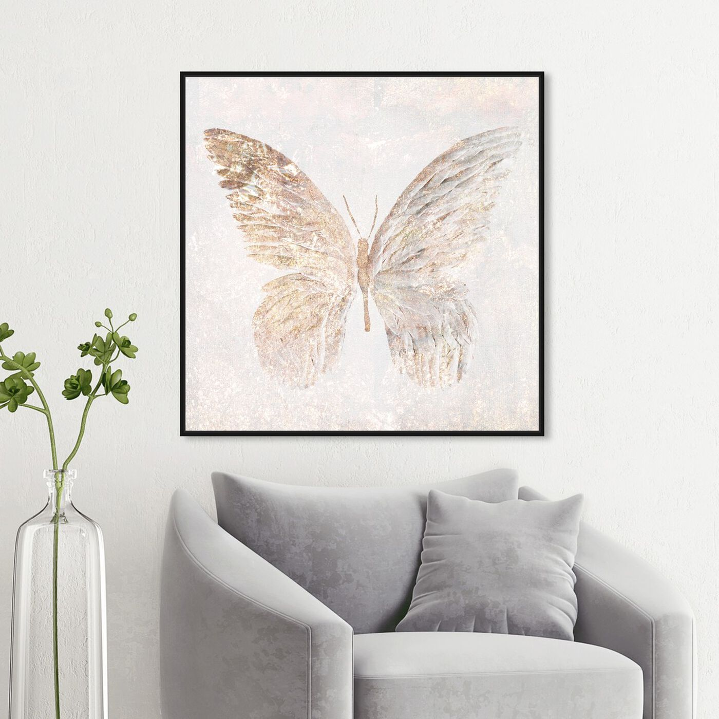 Hanging view of Golden Butterfly Glimmer featuring animals and insects art.