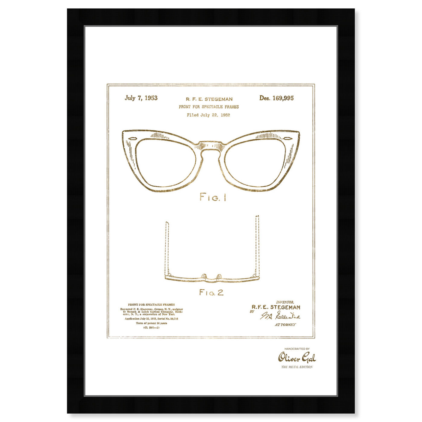 Front view of Ray-Ban Wayfarer SPECTACLE FRAMES 1953 Gold featuring fashion and glam and accessories art.