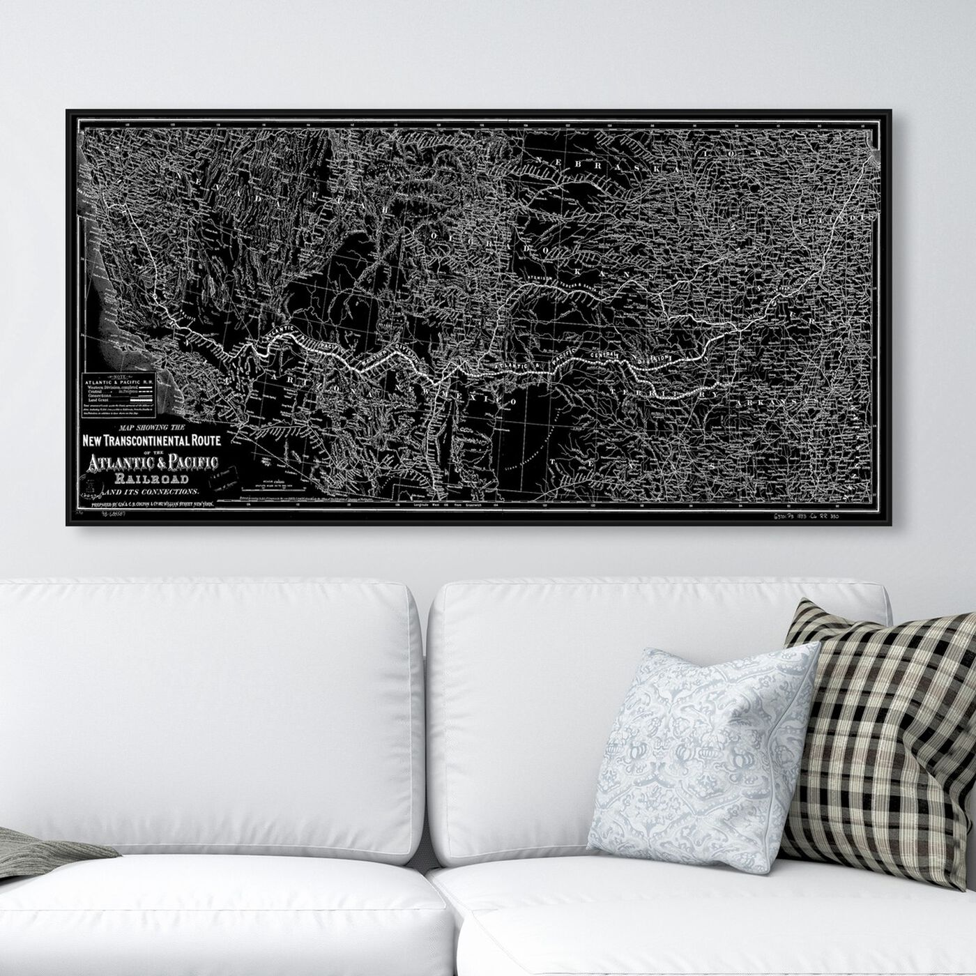 Hanging view of Atlantic and Pacific Railroad Map 1883 featuring maps and flags and urban maps art.