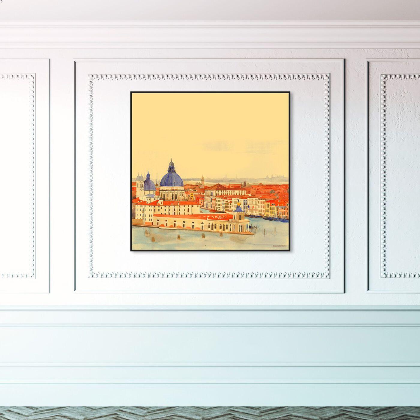 Hanging view of Maja Wronska - Waterfront Vista featuring nautical and coastal and coastal landscapes art.