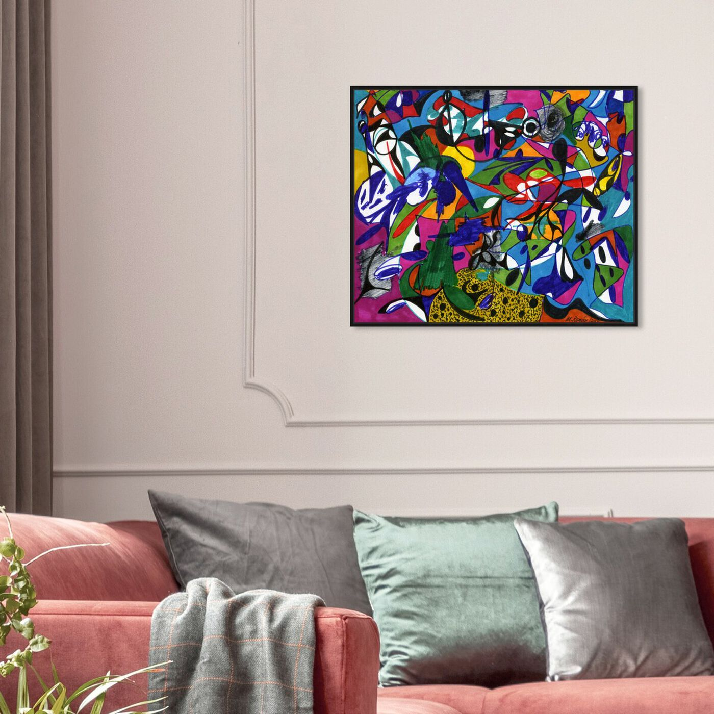 Hanging view of Cacophony featuring abstract and shapes art.