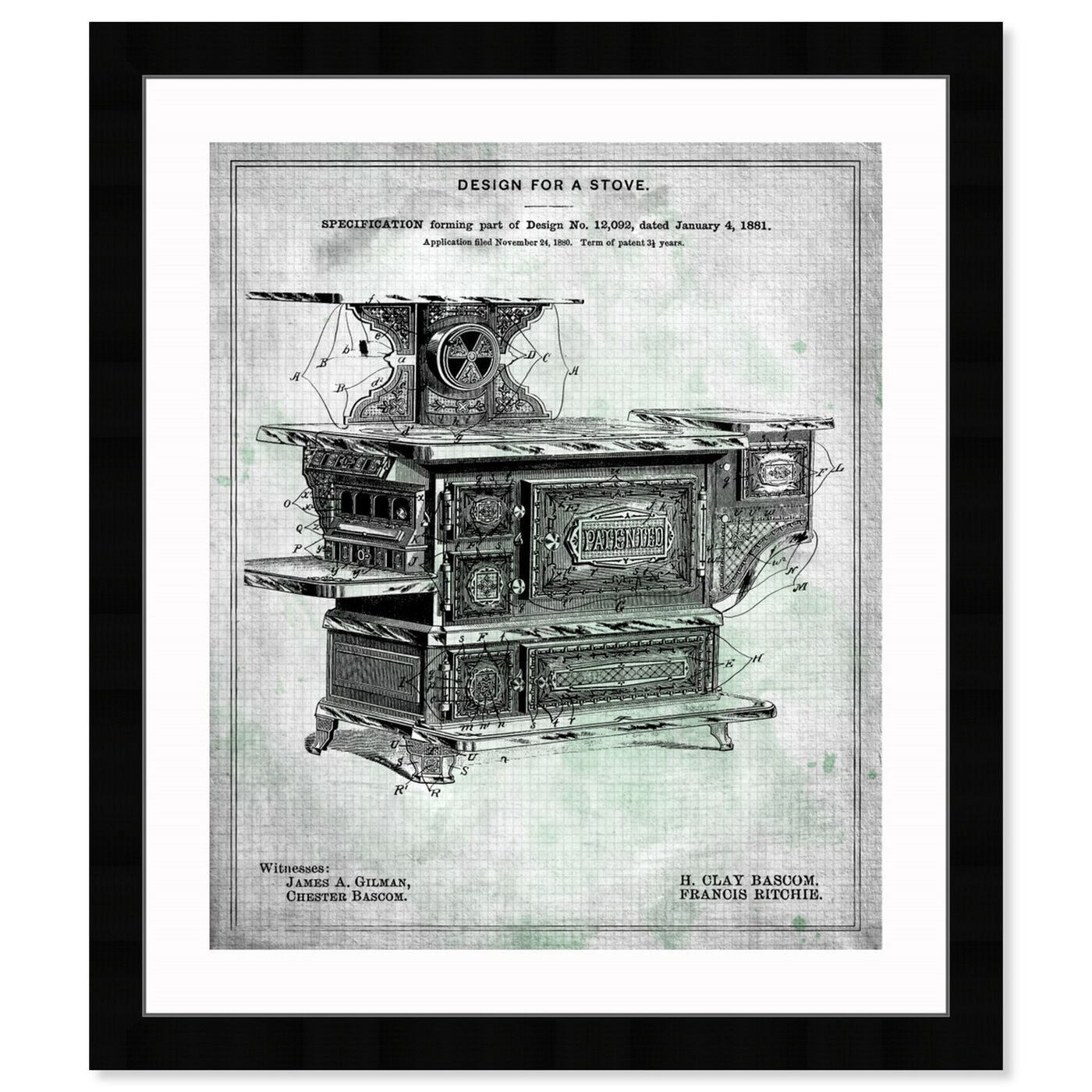 Front view of Design for a Stove 1881 featuring food and cuisine and kitchen art.
