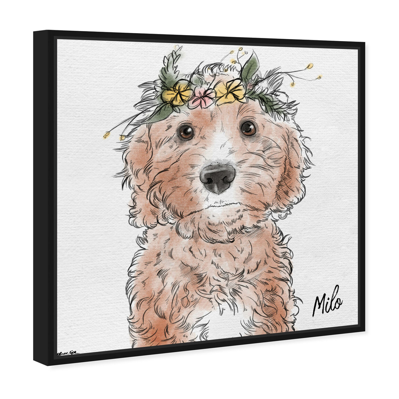 Angled view of Flower Crown Pet featuring animals and dogs and puppies art.
