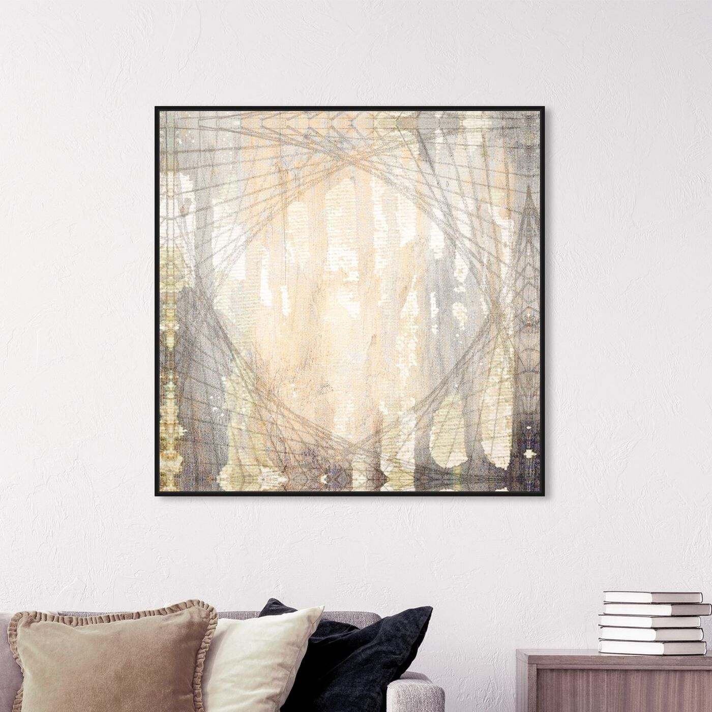 Hanging view of Gea featuring abstract and watercolor art.