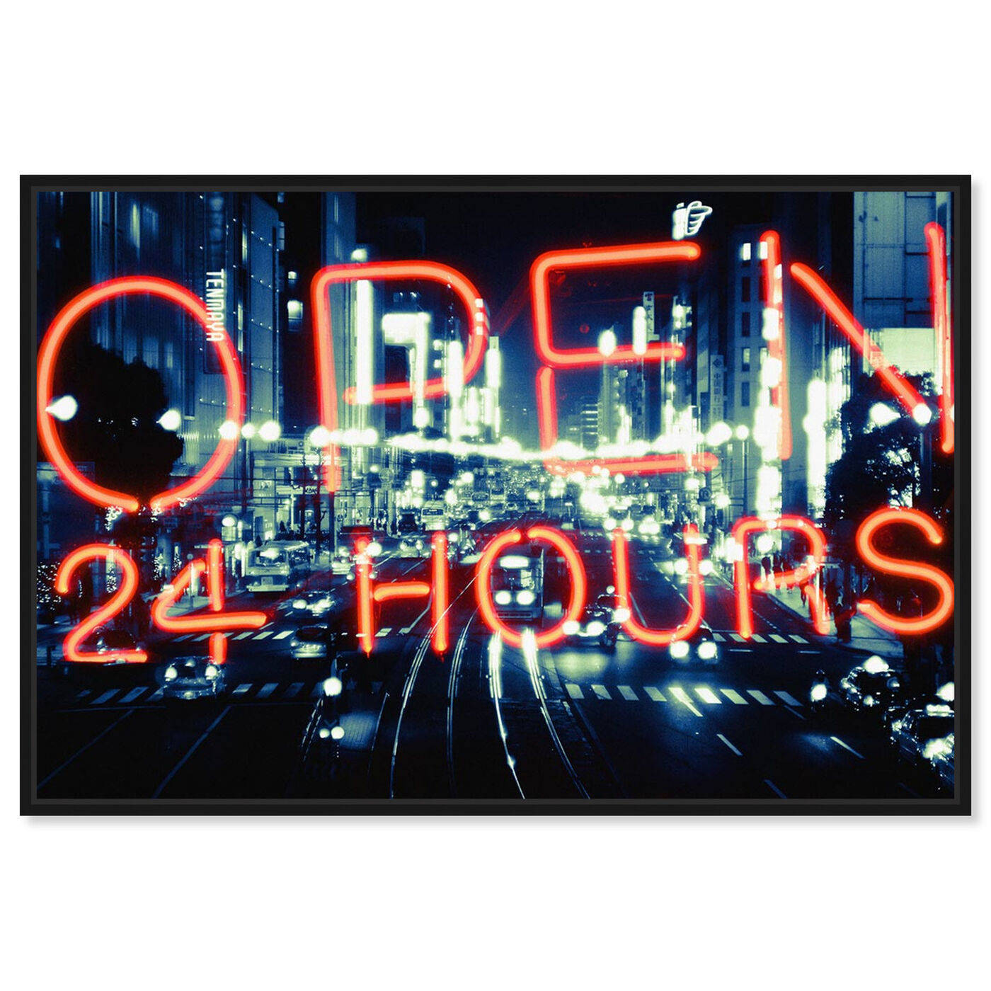 Front view of Open 24 Hours featuring typography and quotes and signs art.