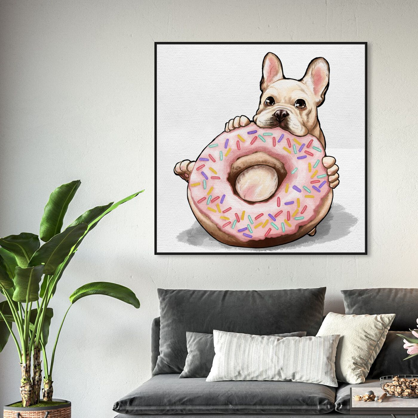 Hanging view of Donut Frenchie featuring animals and dogs and puppies art.