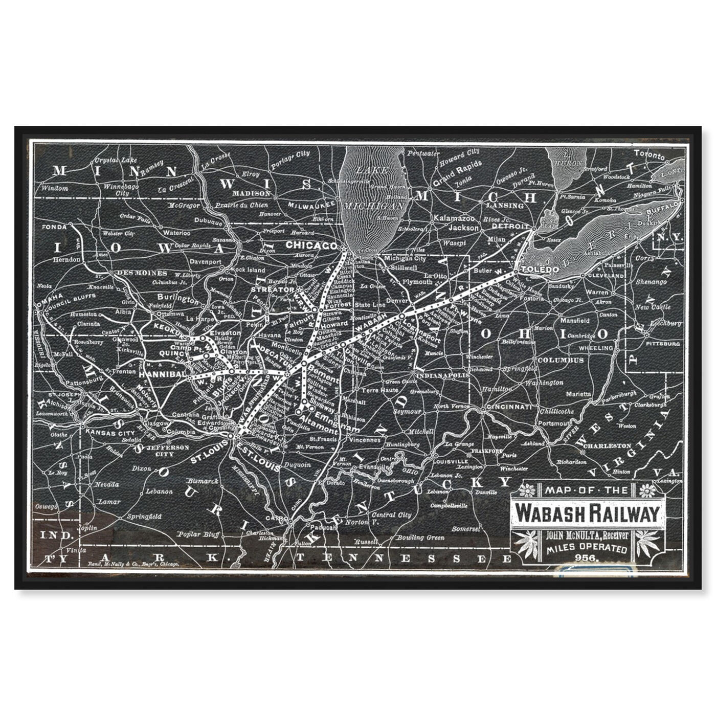 Front view of Wabash Railroad Map featuring maps and flags and us states maps art.