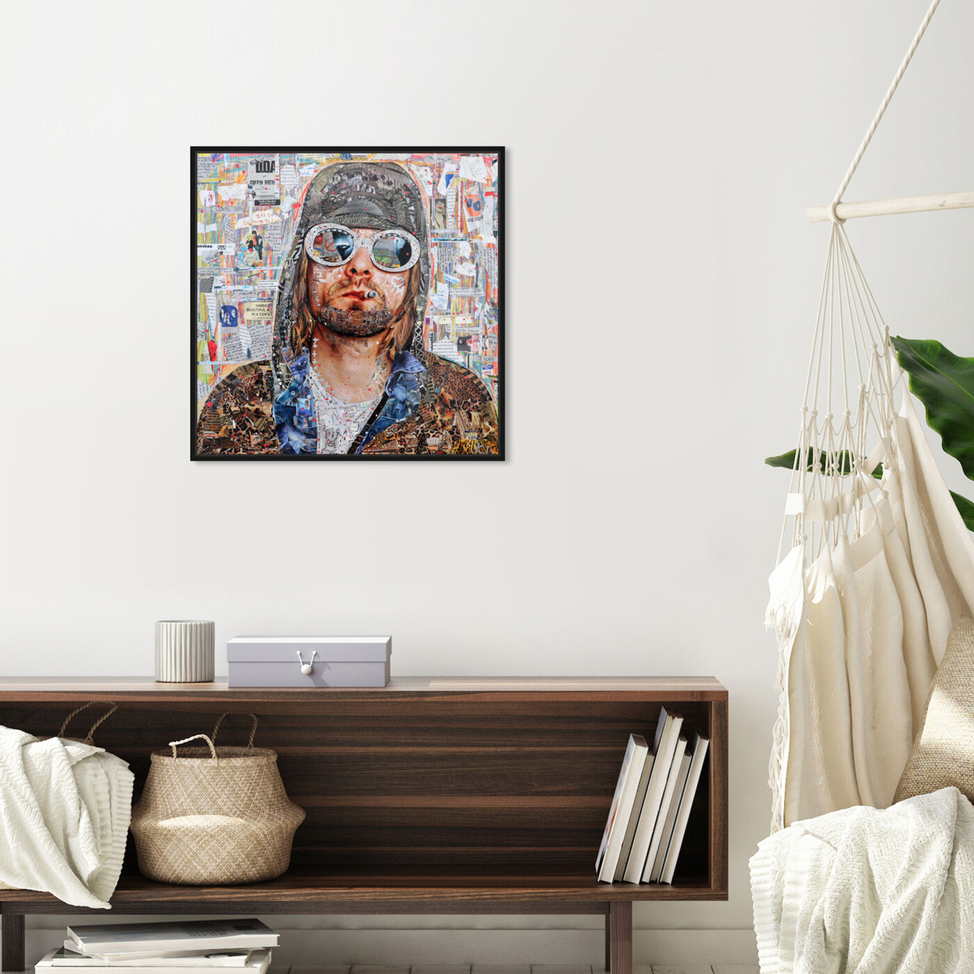 Hanging view of Katy Hirschfeld - Cheetah Print Smokes featuring fashion and glam and portraits art.