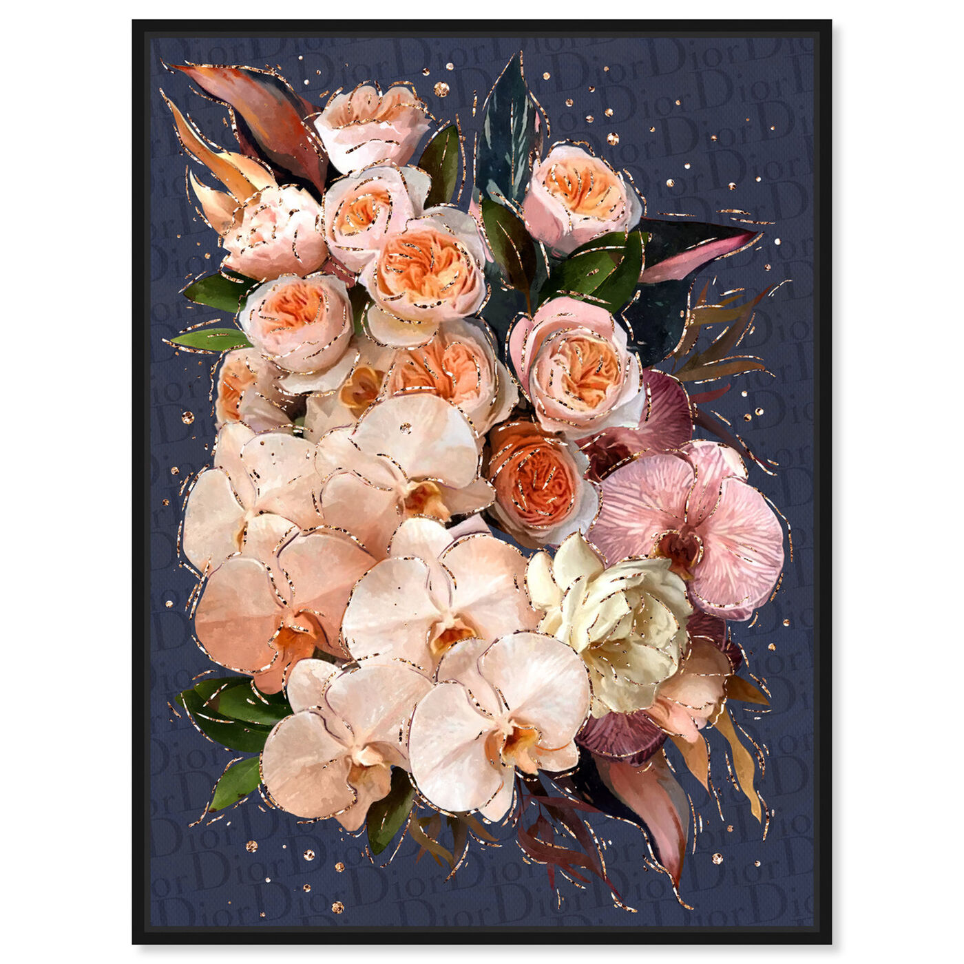 Front view of Golden Creamy Bouquet featuring floral and botanical and florals art.