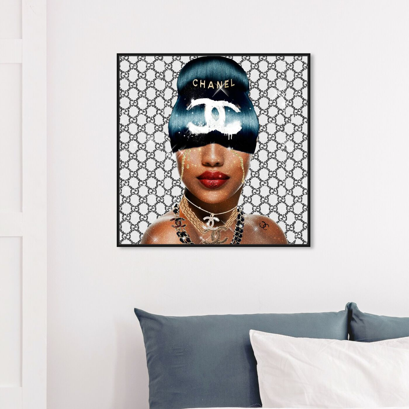 Hanging view of Cyberpunk Queen French featuring fashion and glam and hairstyles art.